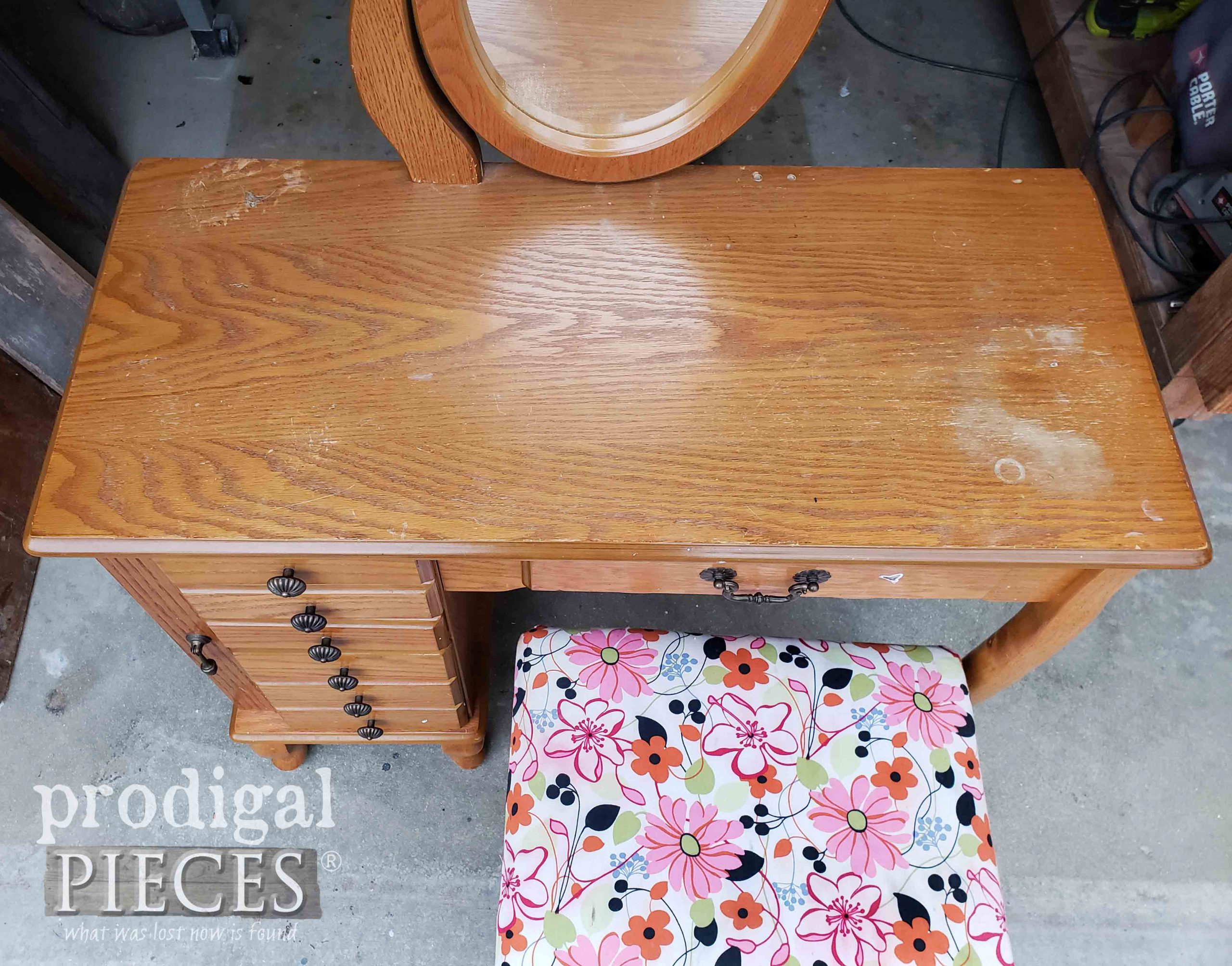 Girls Vanity Table Top with Damage | prodigalpieces.com