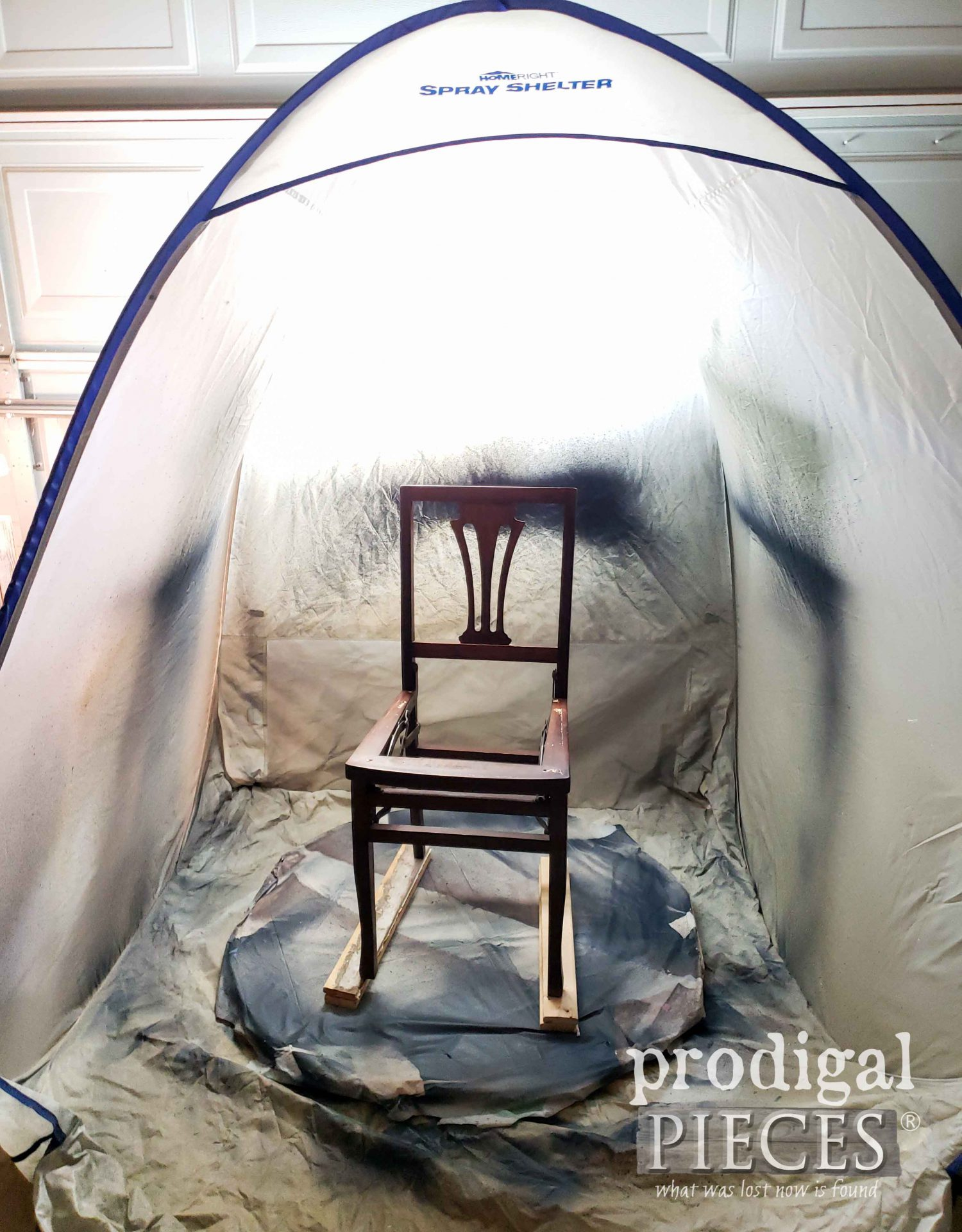 HomeRight Medium Spray Shelter with DIY Furniture Turn Table by Larissa of Prodigal Pieces | prodigalpieces.com #prodigalpieces