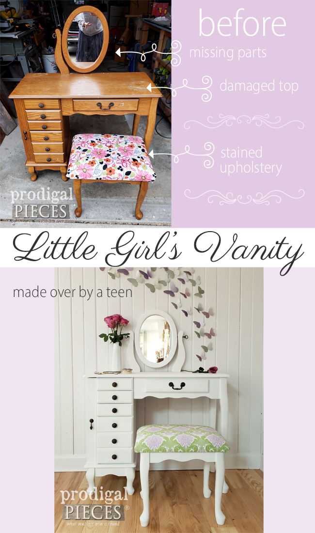 Adorable! This vintage girls vanity was broken and needing TLC. Prodigal Pieces gave it new life with upholstery and paint. Come see! | Head to prodigalpieces.com #prodigalpieces #home #homedecor #furniture #vintage #kids