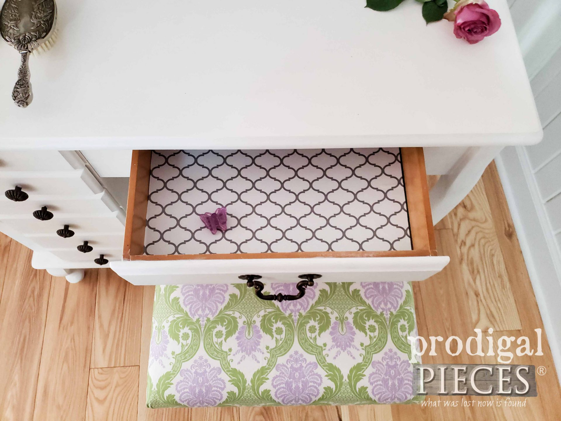 Open Drawer on Vintage Girls Vanity Table Set | prodigalpieces.com #prodigalpieces #diy #home #homedecor #furntiure