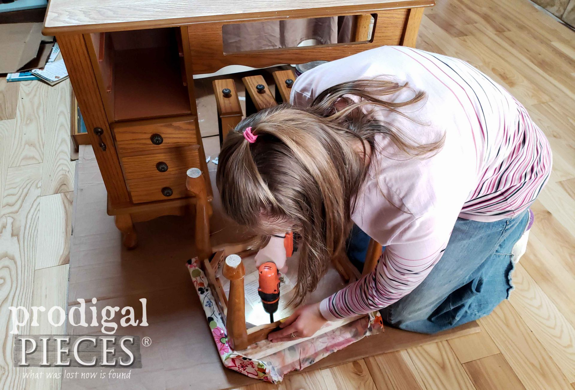 Removing Old Upholstery on Girls Vanity Table Set | prodigalpieces.com