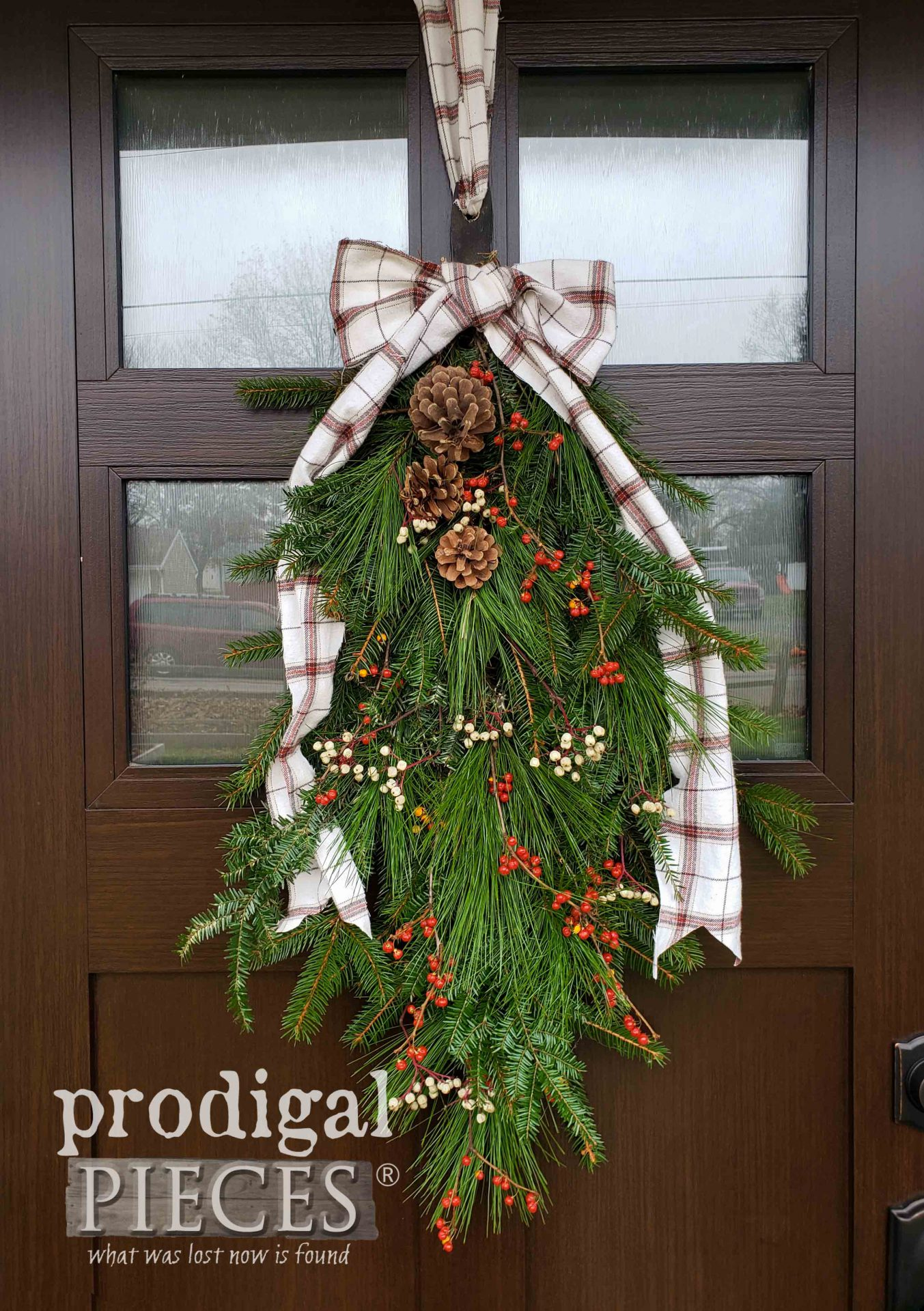 Rustic DIY Christmas Swag from Fresh Foraged Greens | Video Tutorial by Larissa of Prodigal Pieces | prodigalpieces.com #prodigalpieces #christmas #nordic #farmhouse #home #holiday #homedecor