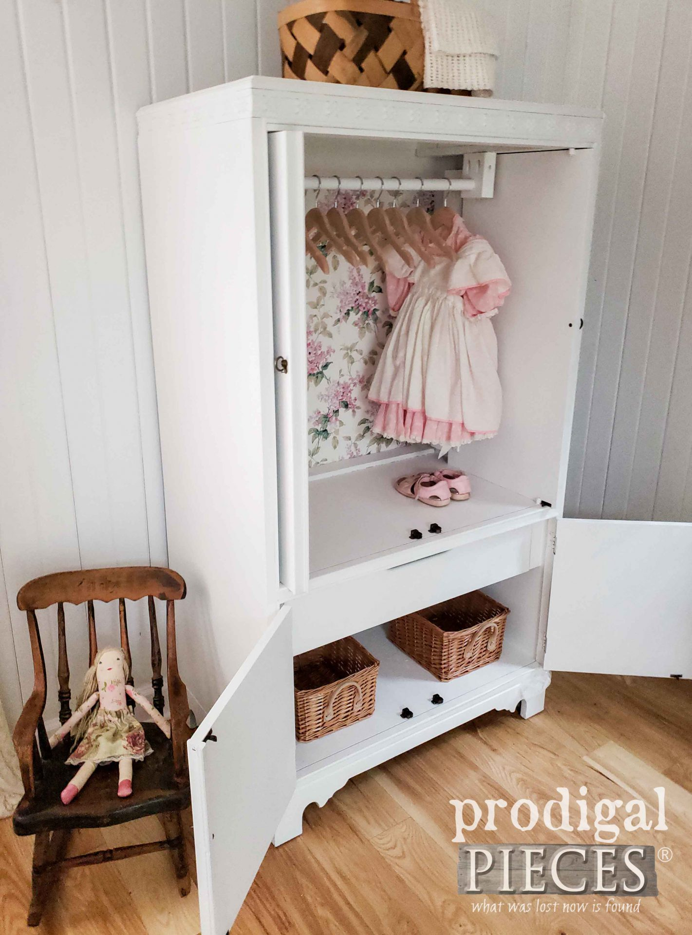 Side View of Upcycled Entertainment Center Turned Baby Girl Wardrobe by Larissa of Prodigal Pieces | prodigalpieces.com #prodigalpieces #diy #home #baby #furniture #homedecor #nursery
