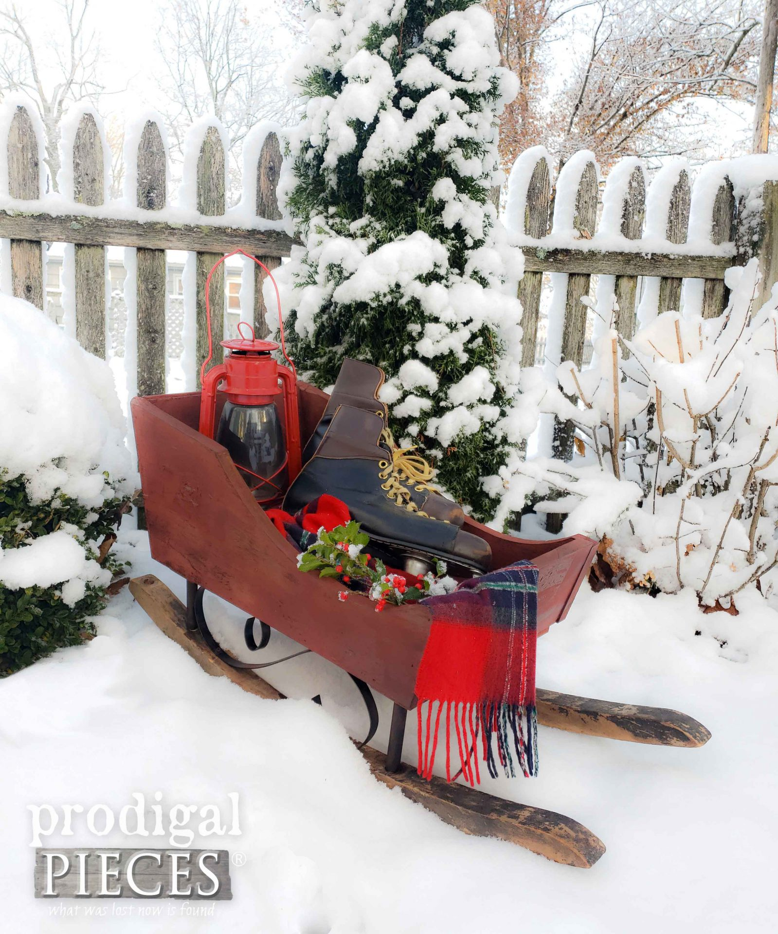 Snowy Upcycled Farmhouse Christmas Sleigh by Larissa of Prodigal Pieces | prodigalpieces.com #prodigalpieces #diy #home #homedecor #farmhouse #christmas