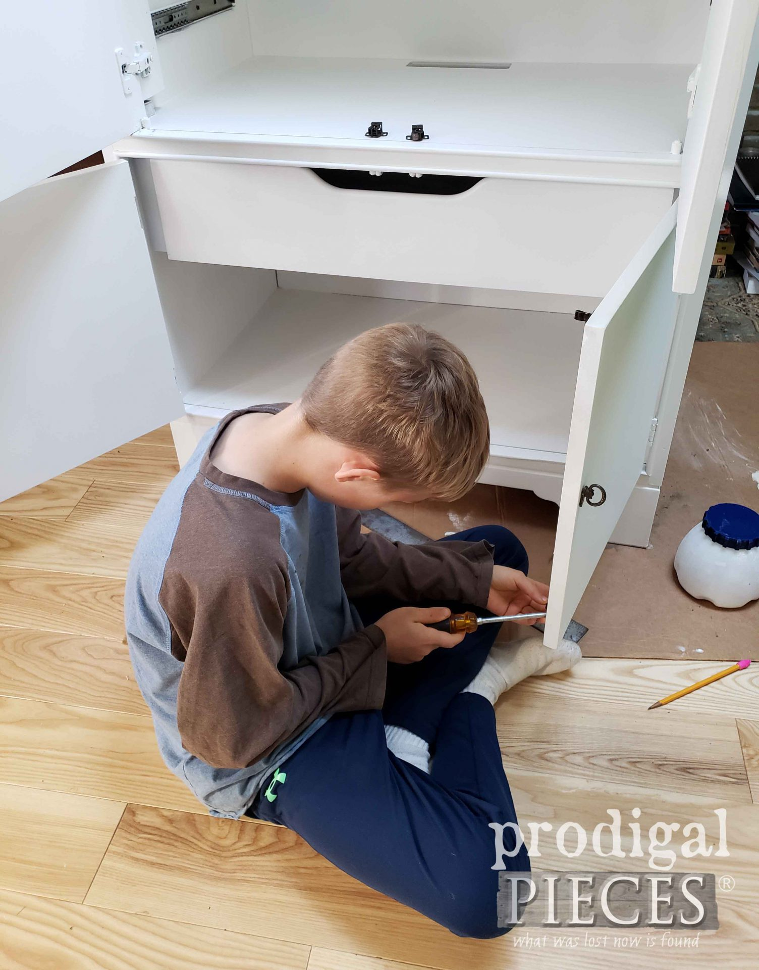 Young Son Helping Mama in Upcycle DIY | prodigalpieces.com #prodigalpieces #diy #home #homedecor #furniture #kids