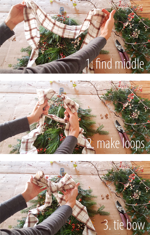 Tying a Simple, Nordic, Farmhouse Bow made from an upcycled flannel shirt | prodigalpieces.com #prodigalpieces