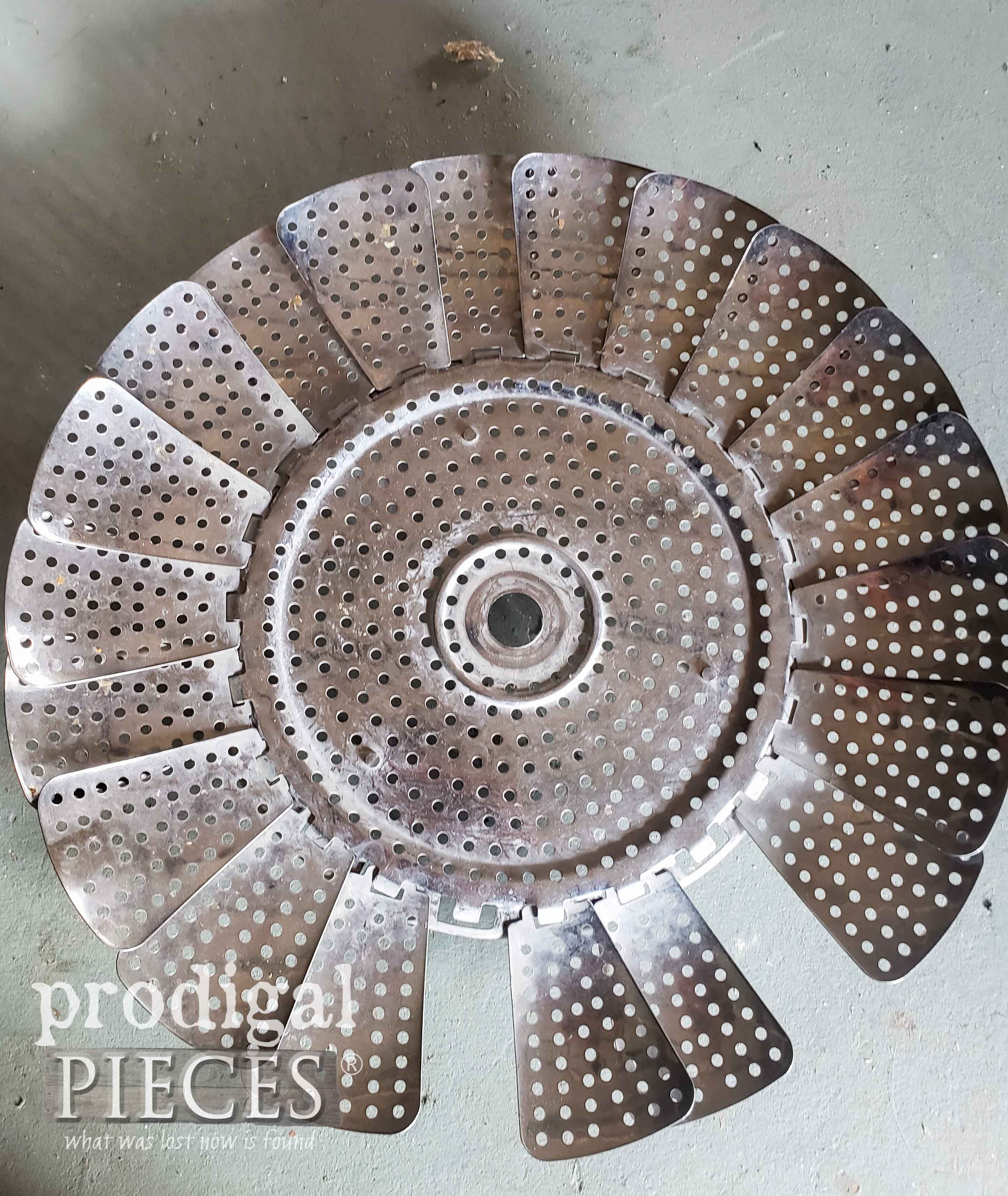 Upcycled Basket Steamer for Salvaged Junk Turkey Metal Art | prodigalpieces.com