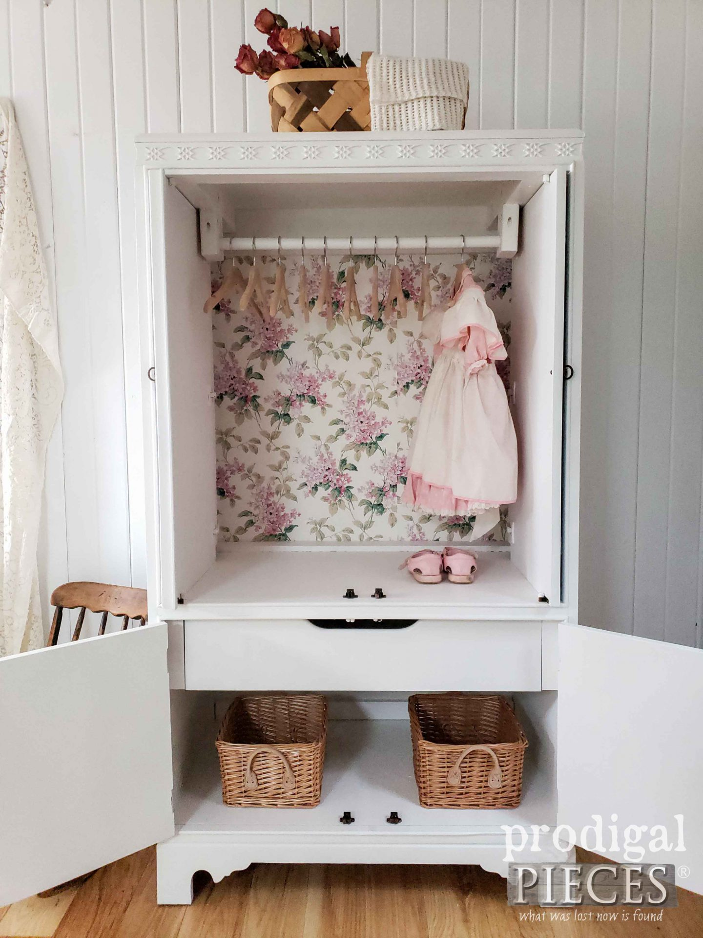 Adorable Upcycled Entertainment Center turned into Wardrobe for Baby by Larissa of Prodigal Pieces | prodigalpieces.com #prodigalpieces #diy #baby #nursery #furniture #homedecor #diy