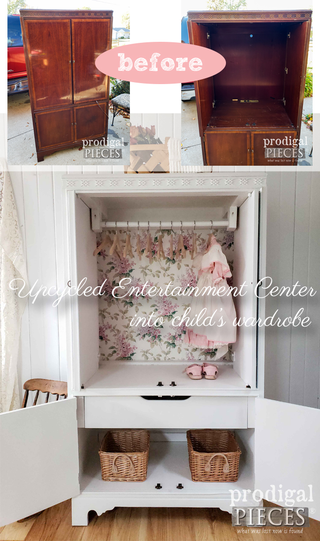 Check out this upcycled entertainment center turned child's armoire for nursery decor by Larissa of Prodigal Pieces | DIY details at prodigalpieces.com #prodigalpieces #diy #furniture #baby #nursery #home #homedecor