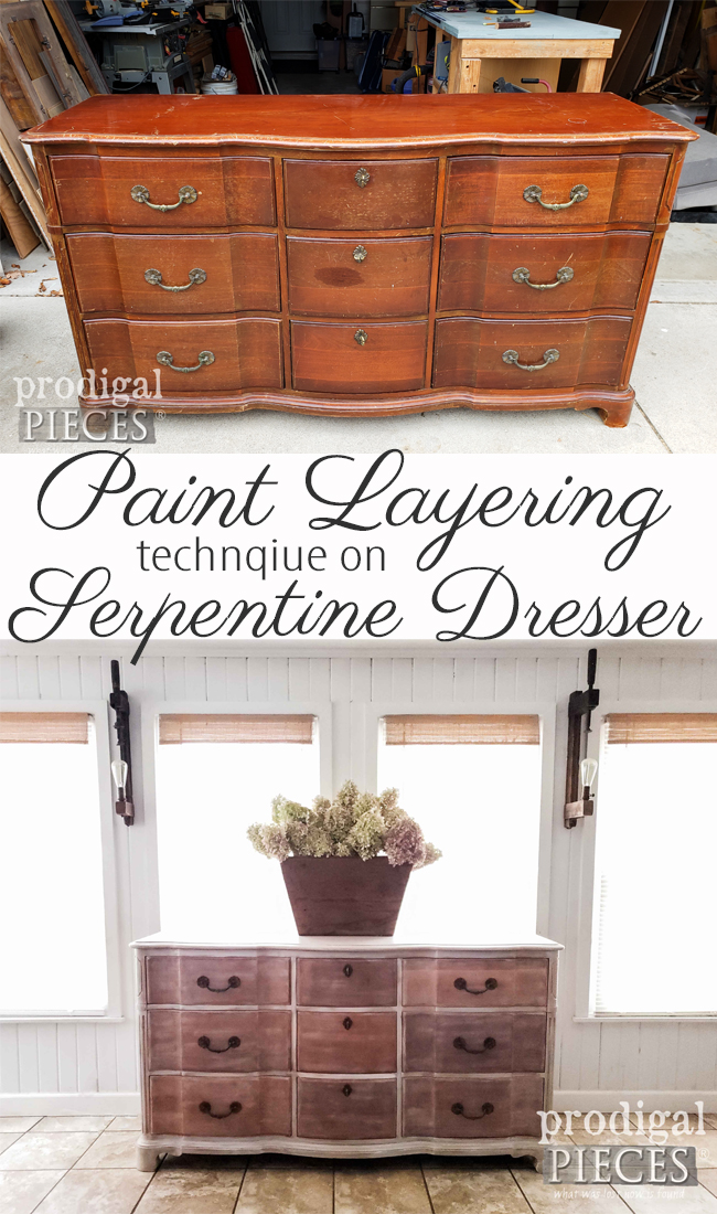 Learn this paint layering technique applied to this vintage serpentine dresser as demonstrated by Larissa of Prodigal Pieces | prodigalpieces.com #prodigalpieces #diy #home #homedecor #furniture #farmhouse