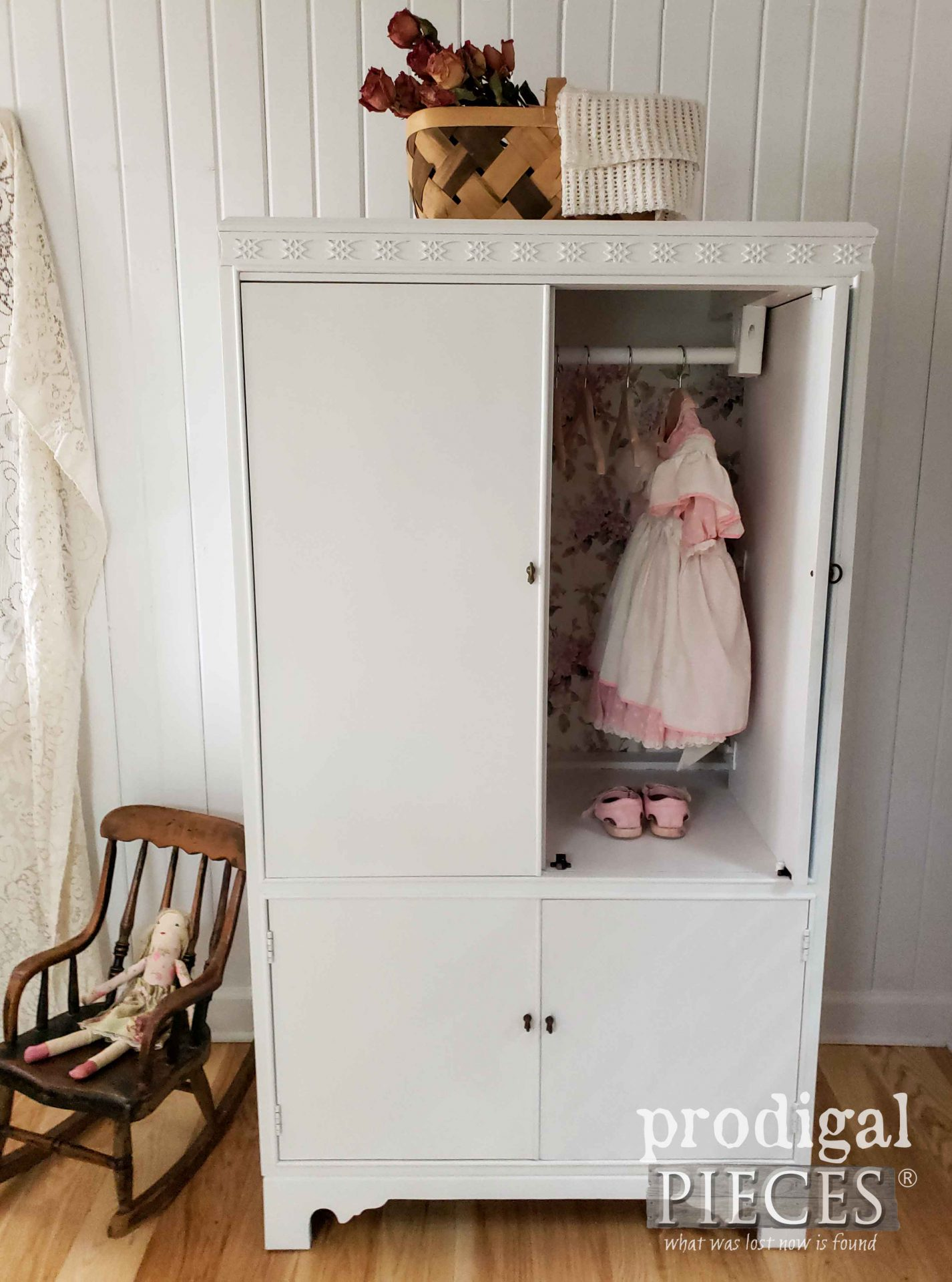 Vintage White Wardrobe for Baby Girl by Larissa of Prodigal Pieces | prodigalpieces.com #prodigalpieces #furniture #home #baby #girl #nursery #homedecor