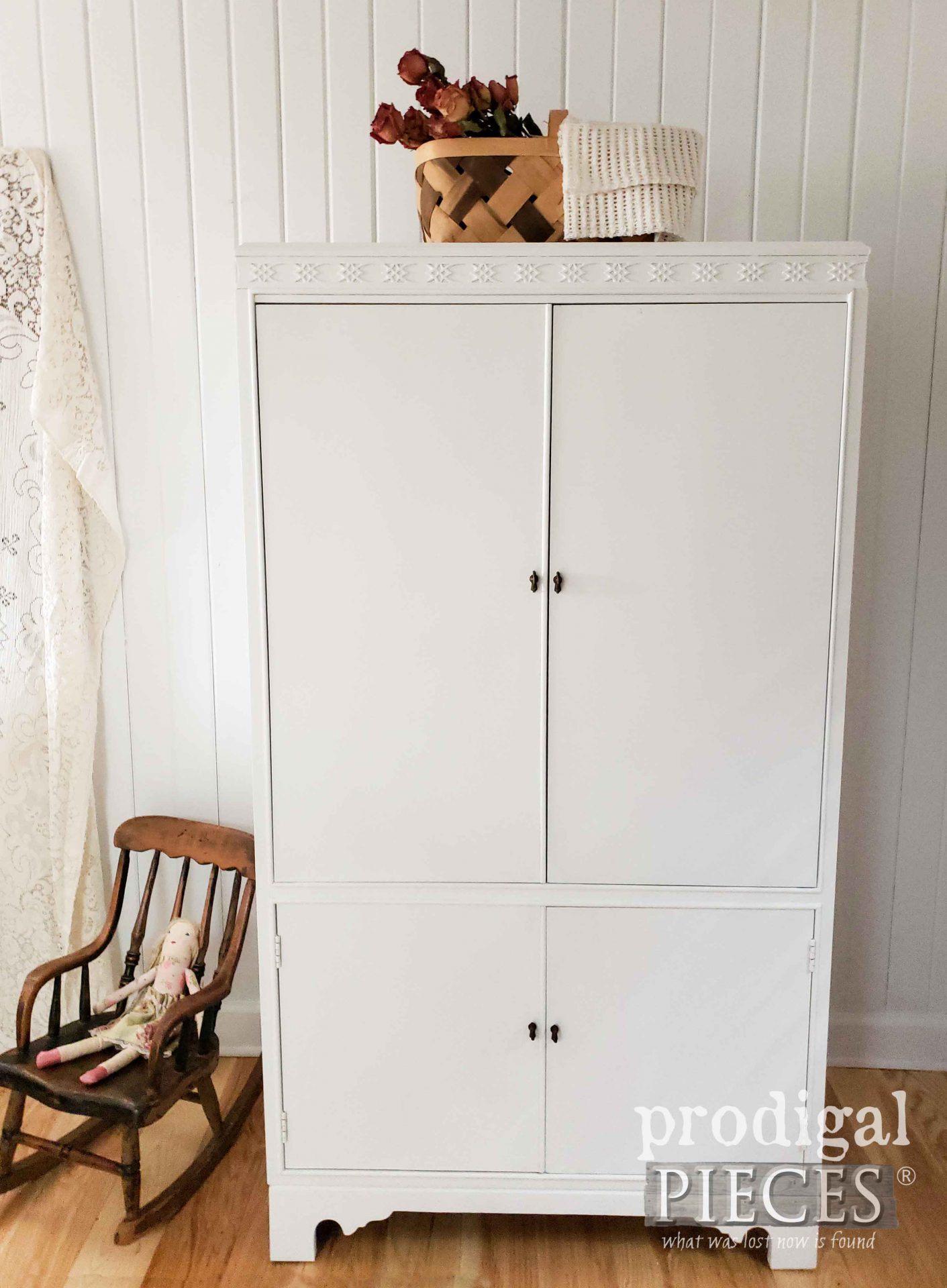 Vintage White Wardrobe DIY from Upcycled Entertainment Center by Larissa of Prodigal Pieces | prodigalpieces.com #prodigalpieces #furniture #diy #home #baby #nursery #homedecor