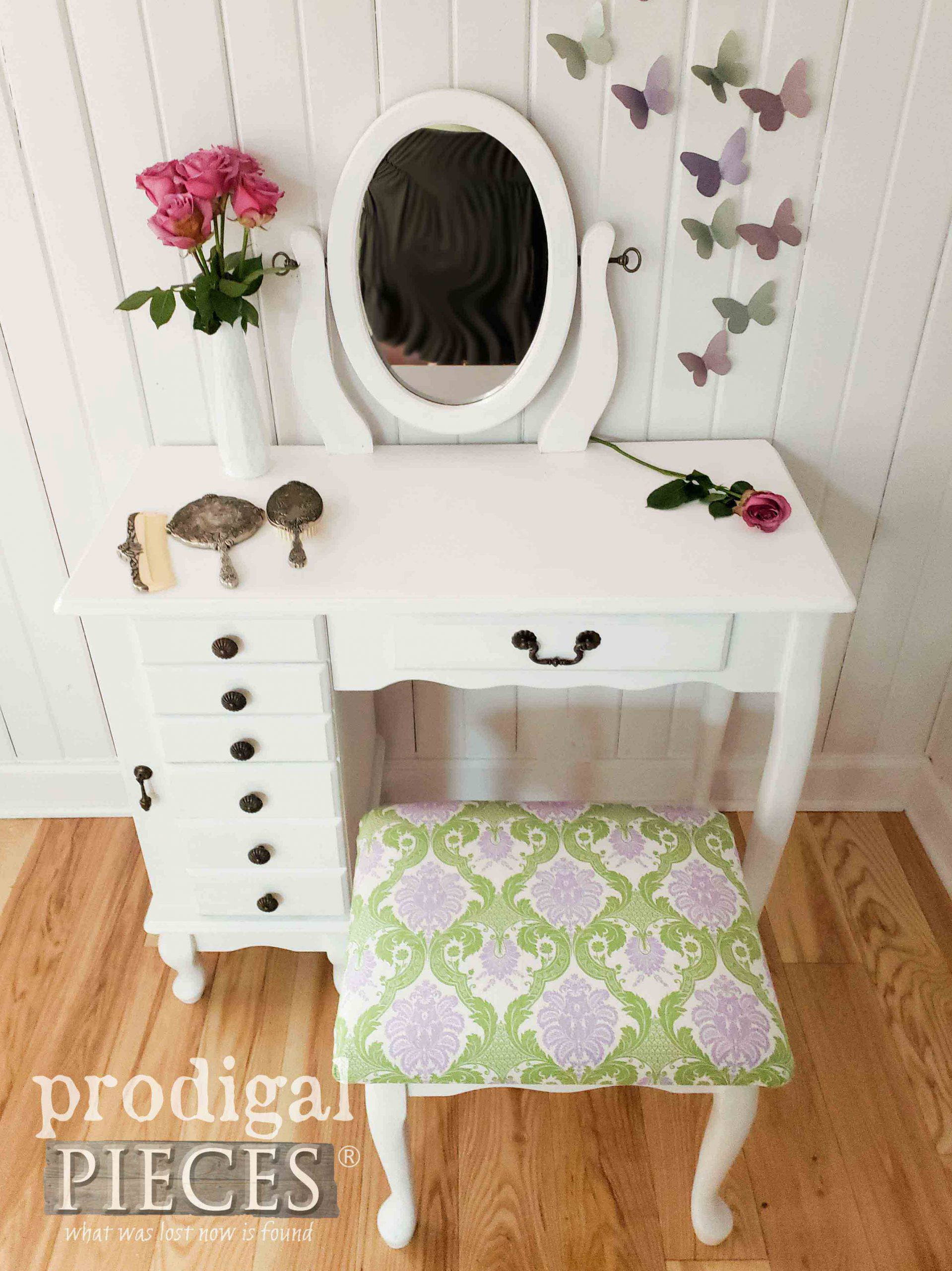 Vintage White Girls Vanity Table Set by Prodigal Pieces | prodigalpieces.com #furniture #home #homedecor #bedroom #kids