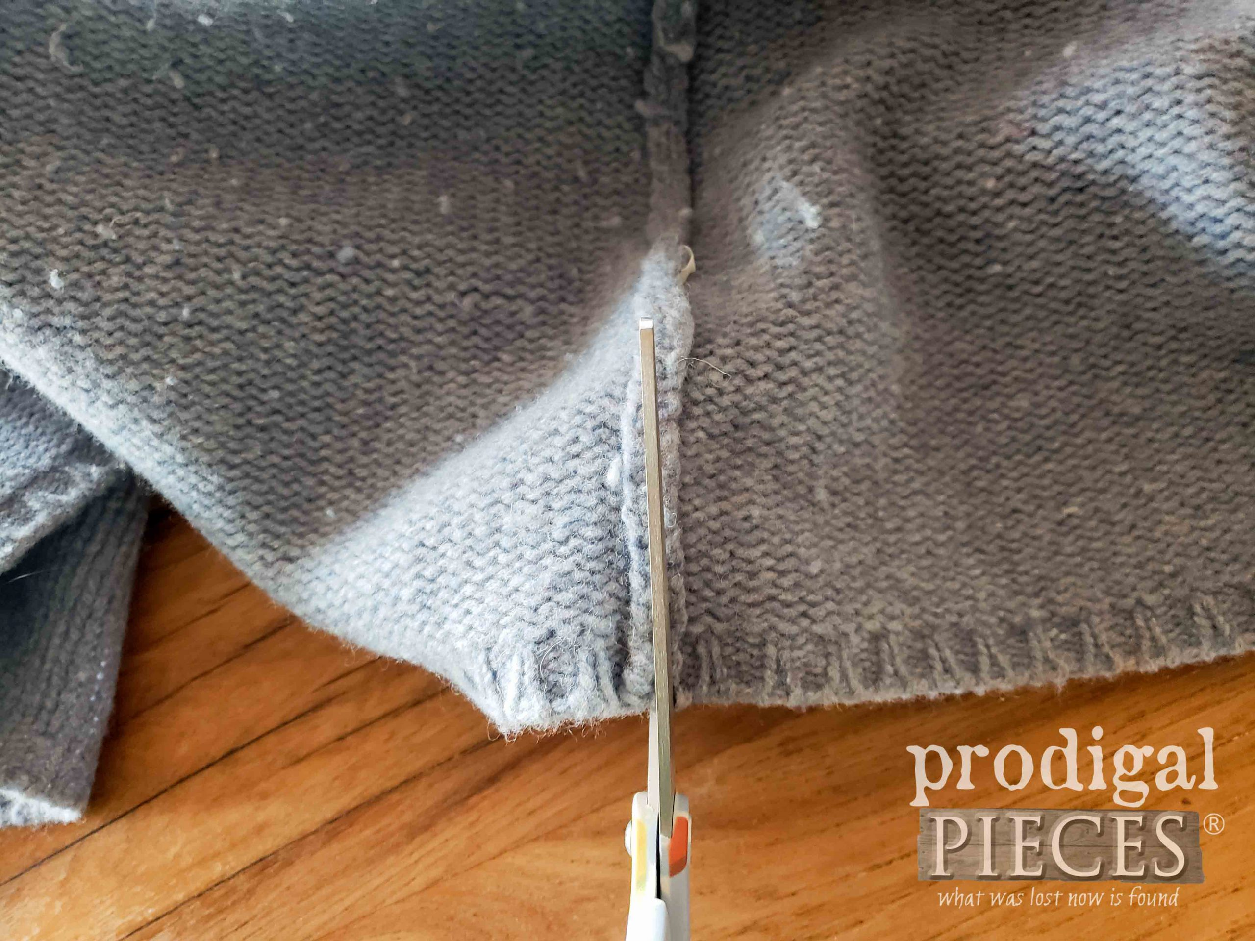 Cutting Wool Sweater for Upcycling in to Dryer Balls | prodigalpieces.com