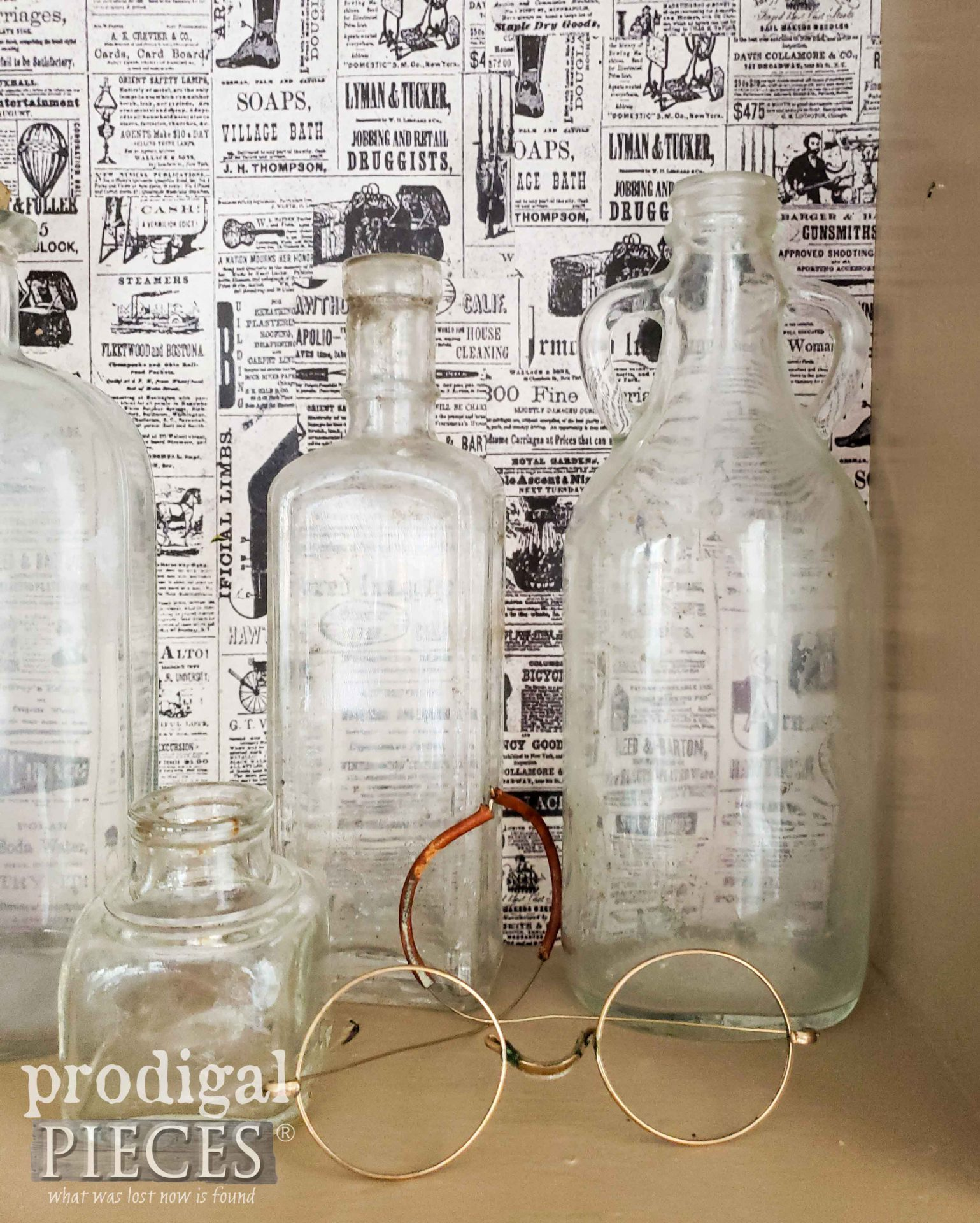 Decoupaged Vintage Apothecary Cabinet with Glasses by Larissa of Prodigal Pieces | prodigalpieces.com #prodigalpieces #farmhouse #diy #home #storage #homedecor