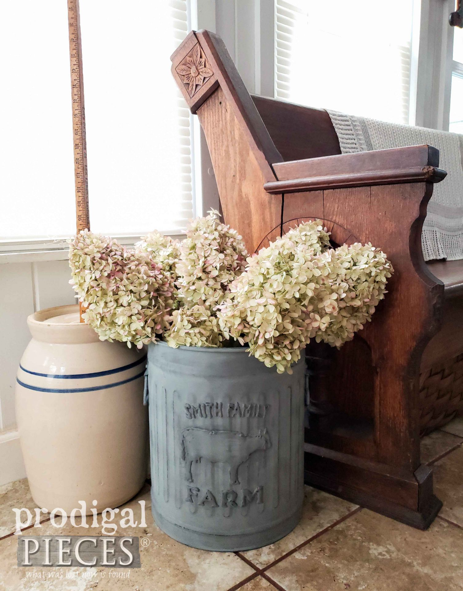 DIY Farmhouse Trash Can Upcycled  | How to Emboss by Larissa of Prodigal Pieces | prodigalpieces.com #prodigalpieces #farmhouse #diy #home #storage #homedecor