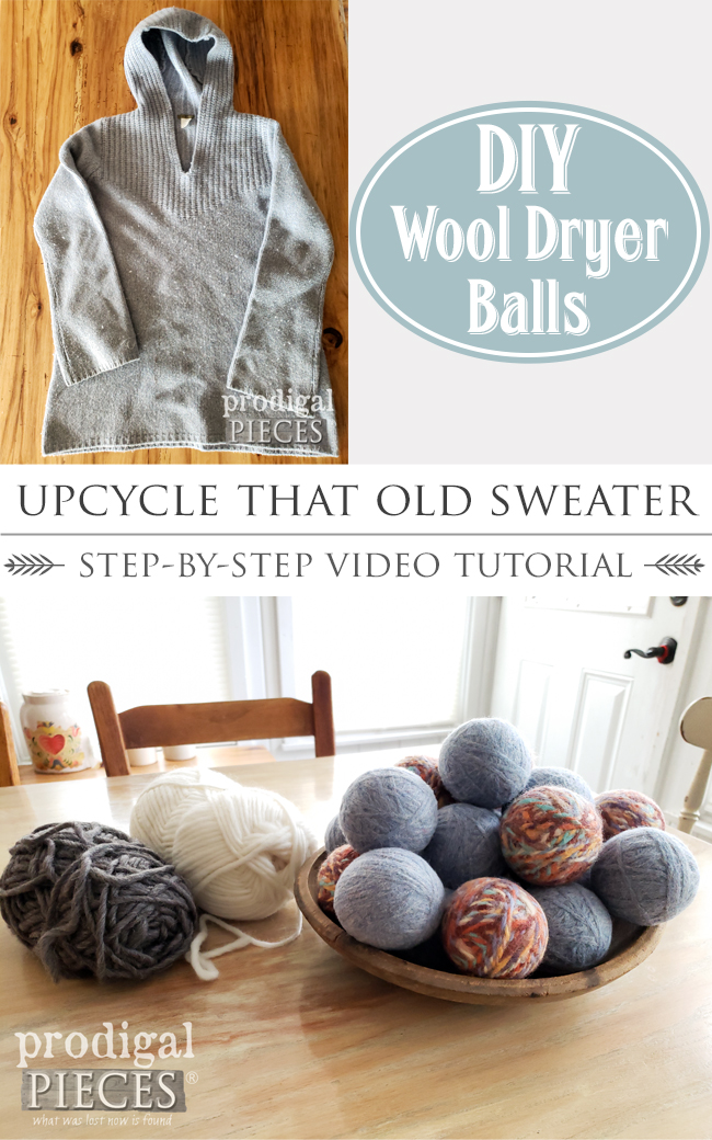 Upcycle that old wool sweater! A super fun and easy video tutorial on how to make DIY Wool Dryer Balls from an old wool sweater. Full details at prodigalpieces.com #prodigalpieces #diy #home #laundry #handmade #upcycle #crafts #farmhouse