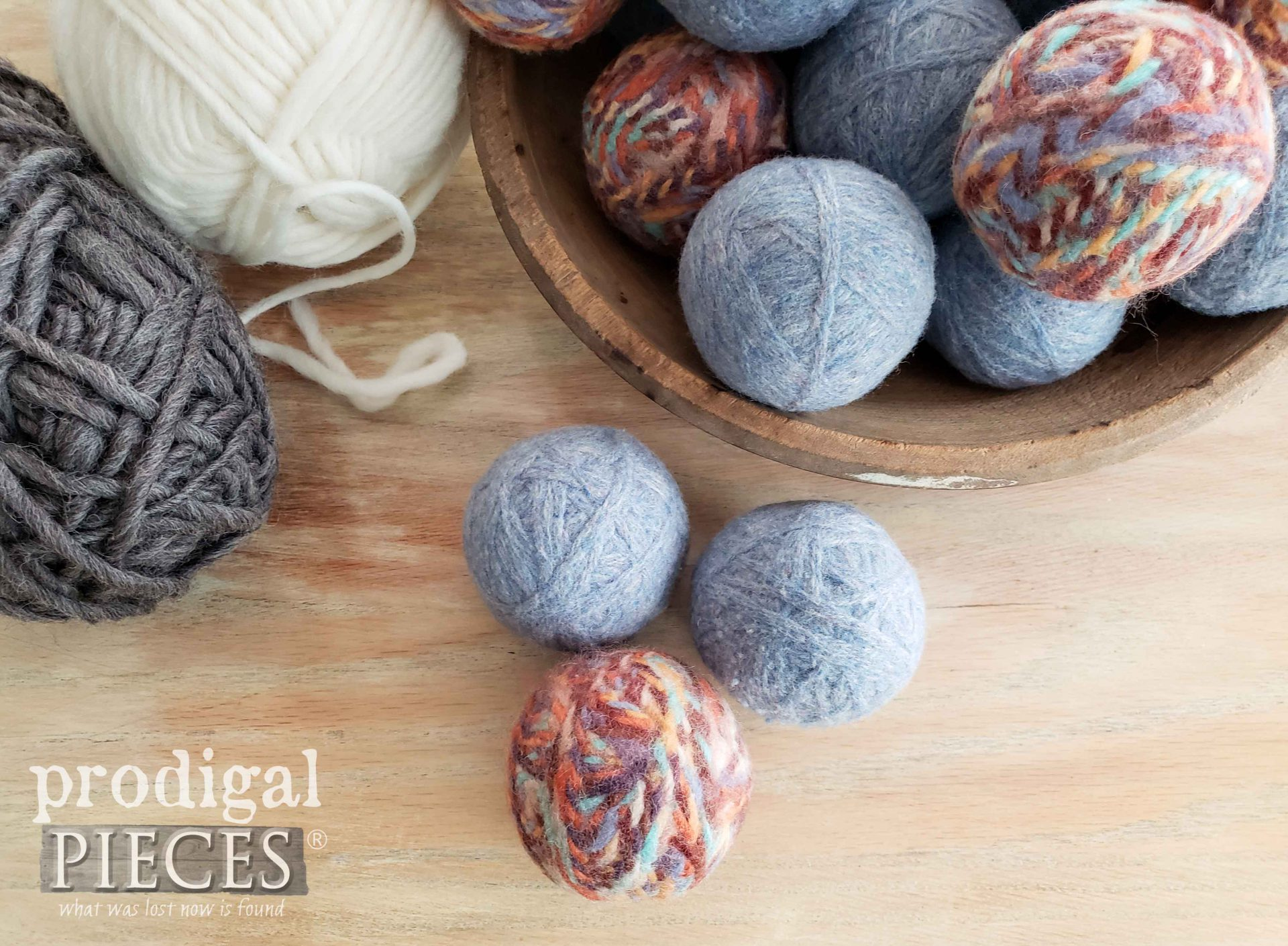 DIY Wool Dryer Ball Trio by Larissa of Prodigal Pieces | prodigalpieces.com #prodigalpieces #diy #farmhouse #crafts #laundry #upcycle
