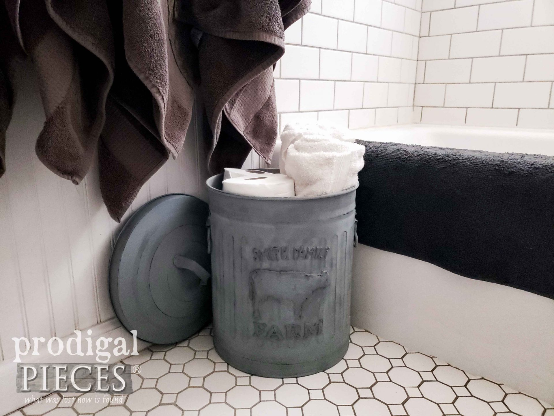Rustic Embossed Farmhouse Dairy Bathroom Storage from Upcycled Trash Can | prodigalpieces.com #prodigalpieces #bathroom #home #diy #homedecor