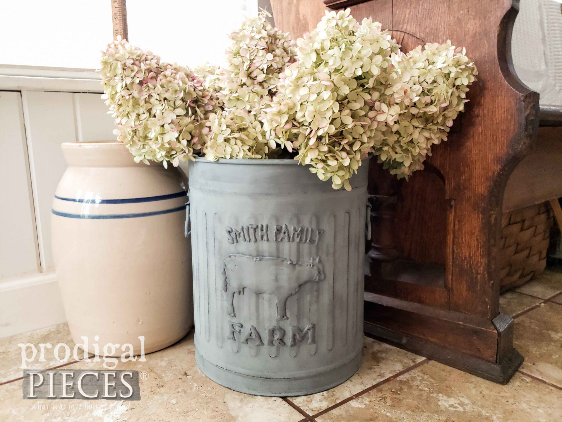 Rustic Farmhouse Dairy Trash Can DIY Tutorial by Larissa of Prodigal Pieces | prodigalpieces.com #prodigalpieces #farmhouse #diy #home #tutorial #homedecor