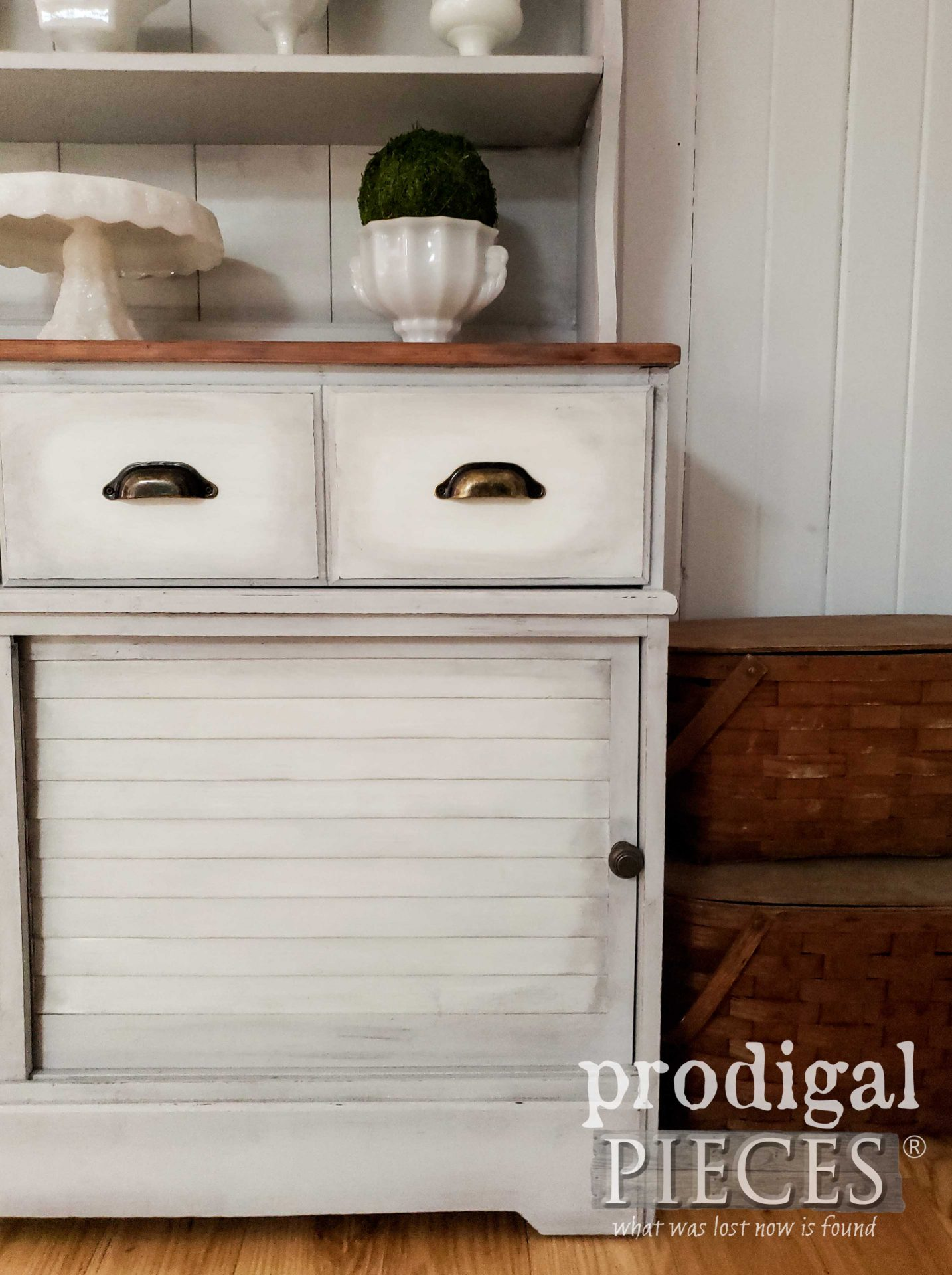 Farmhouse Kitchen Hutch with Scrubbed Pine Top by Larissa of Prodigal Pieces | prodigalpieces.com #prodigalpieces #home #diy #farmhouse #furniture #kitchen #homedecor