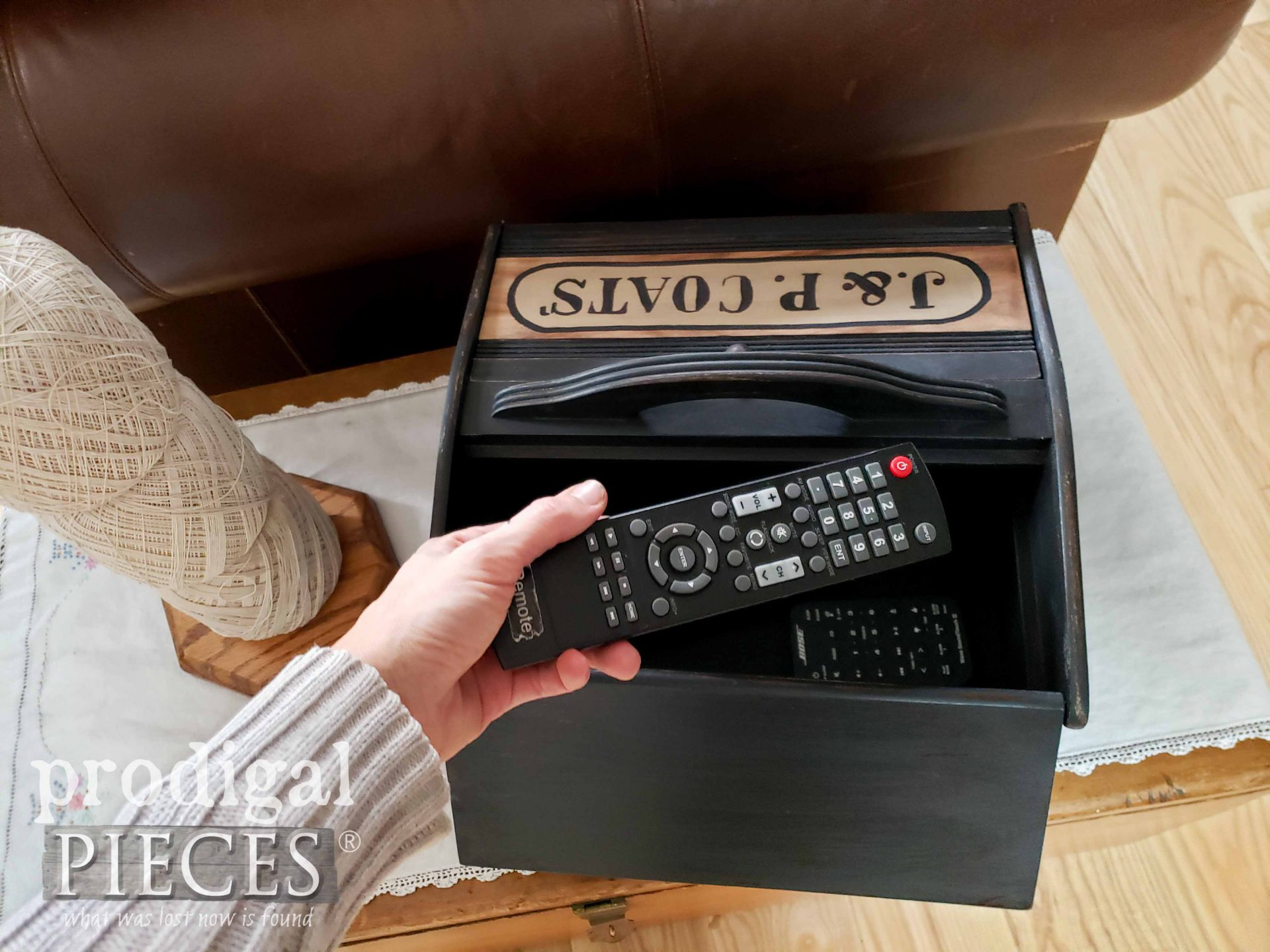 Farmhouse Remote Control Storage with Video Tutorial by Larissa of Prodigal Pieces | prodigalpieces.com #prodigalpieces #diy #home #homedecor #farmhouse