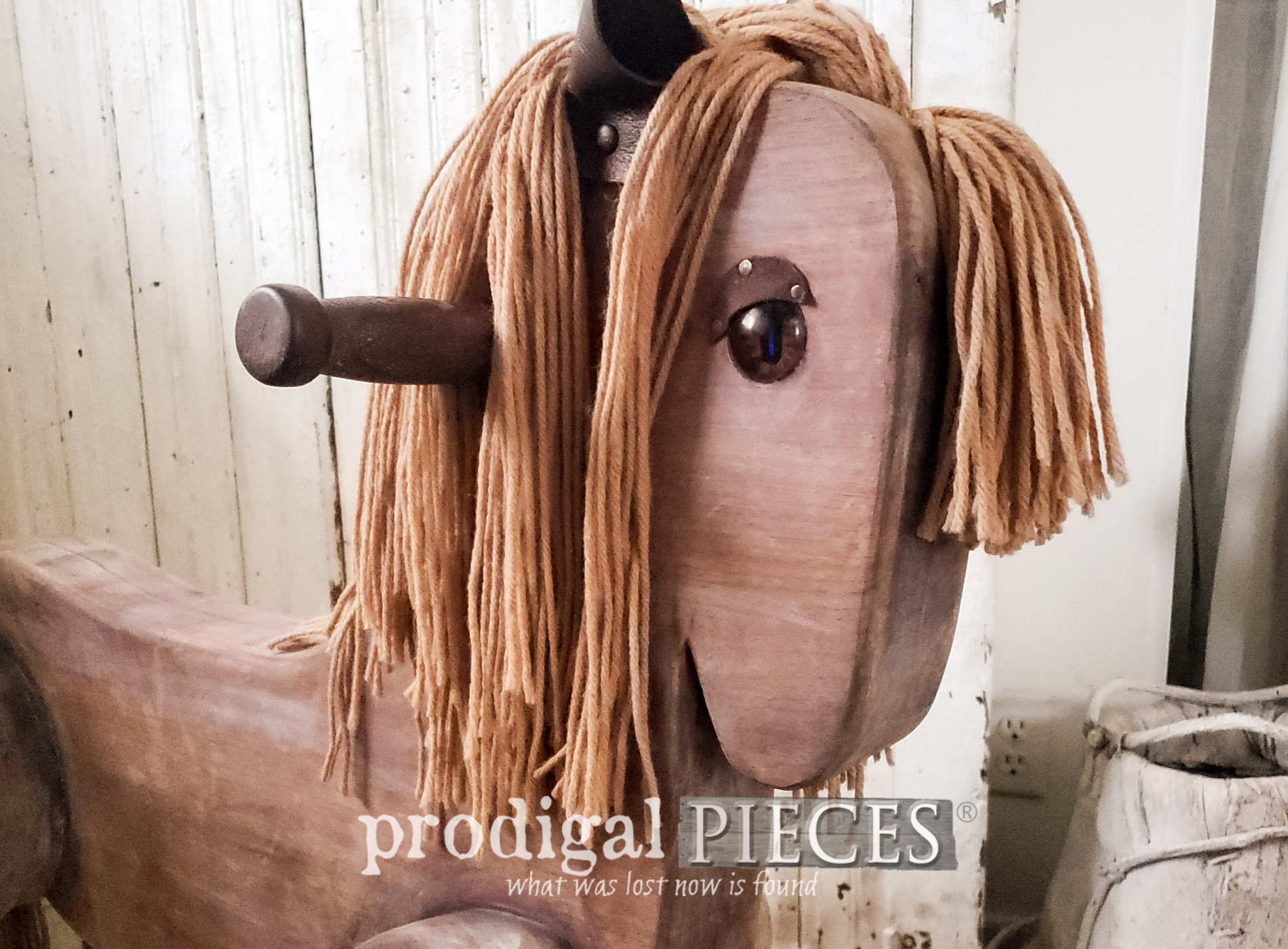 Featured Vintage Rocking Horse Restored & Refinished by Larissa of Prodigal Pieces | Details at prodigalpieces.com #prodigalpieces #diy #farmhouse #kids #toys #handmade #home #homedecor #baby #nursery