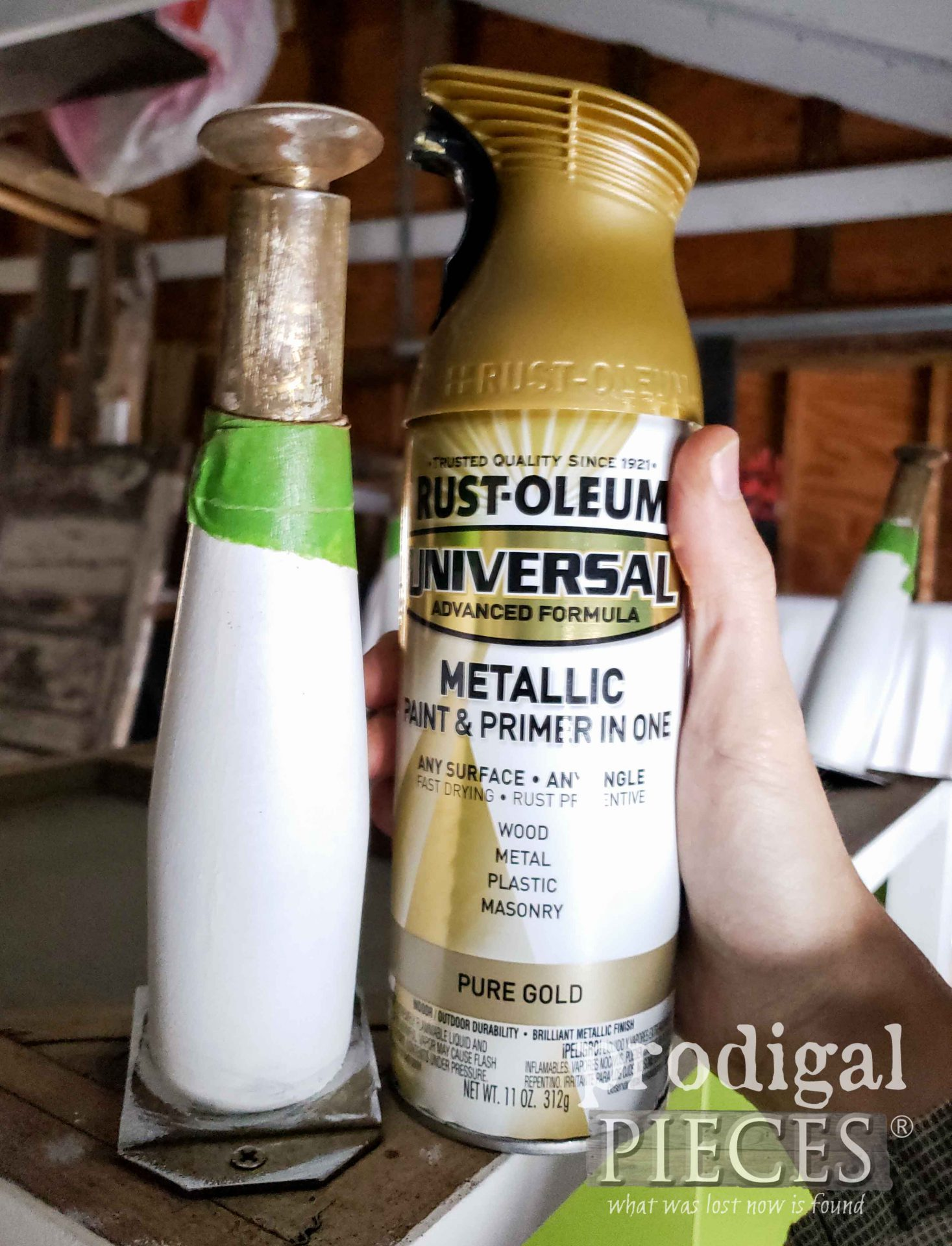 Pure Gold Spray Paint for Mid Century Modern Media Stand | prodigalpieces.com