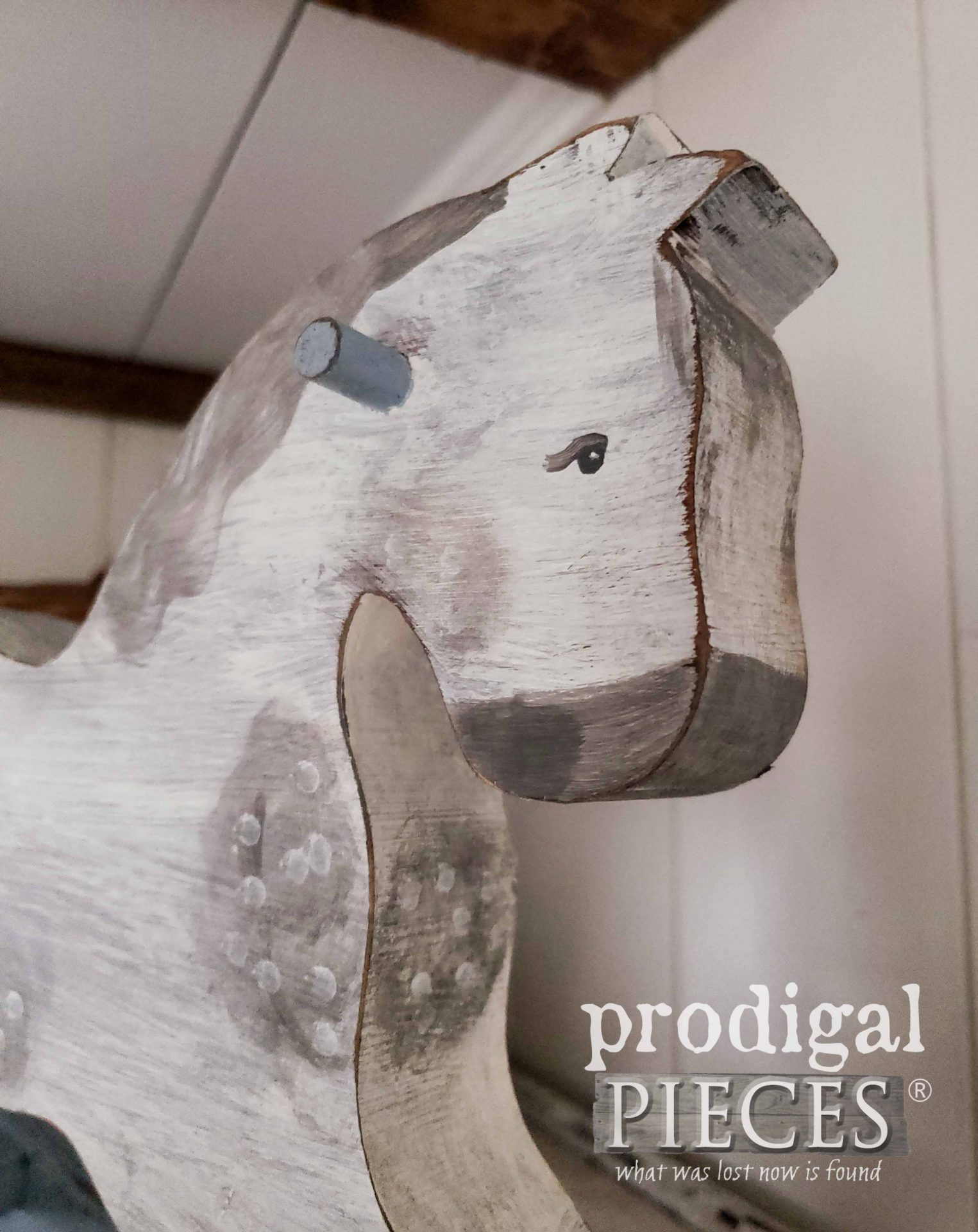 Hand-Painted Miniature Rocking Horse by Larissa of Prodigal Pieces | prodigalpieces.com #prodigalpieces #home #homedecor #farmhouse #horse #toy