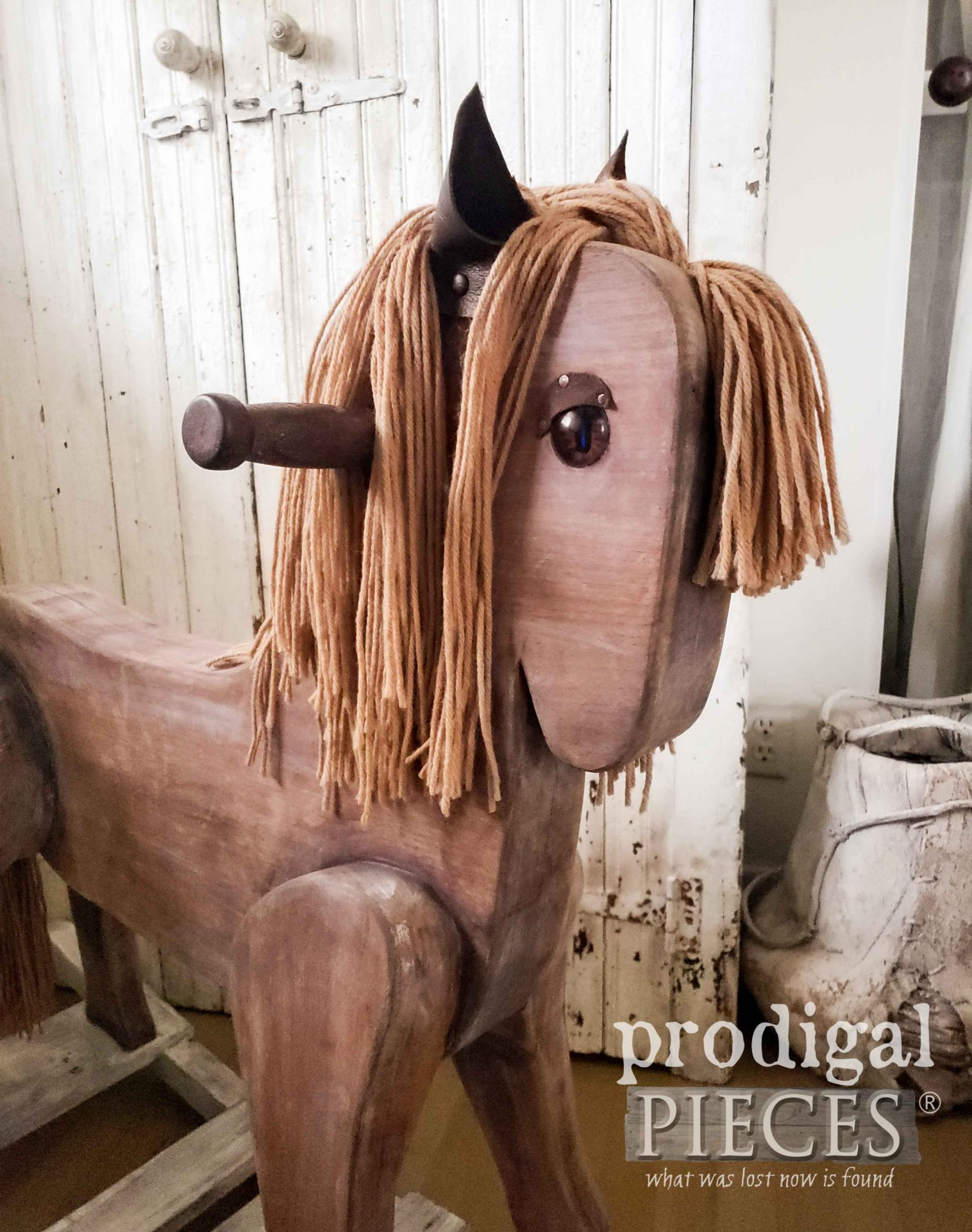 Rustic Farmhouse Handmade Wooden Rocking Horse by Larissa of Prodigal Pieces | prodigalpieces.com #prodigalpieces #farmhouse #home #horse #homedecor #handmade