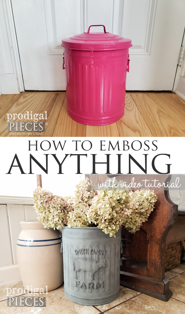 Yes! I will show you how to emboss anything: metal, plastic, wood, glass. It's fun, easy, & affordable too. Come see the video tutorial by Larissa of Prodigal Pieces at prodigalpieces.com #prodigalpieces #diy #home #homedecor #crafts #farmhouse #budgetdecor