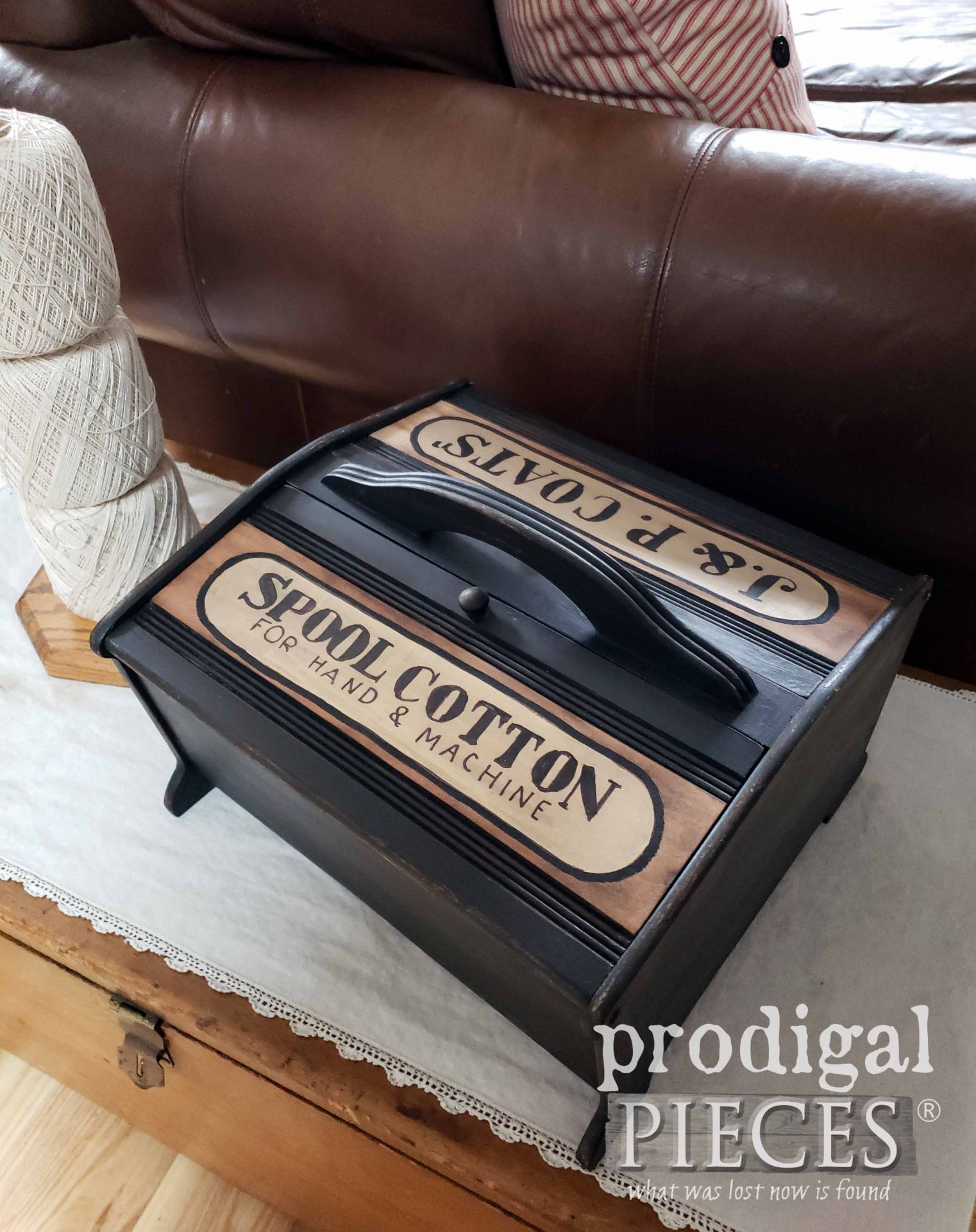 Industrial Style Sewing Box for Farmhouse Decor by Larissa of Prodigal Pieces | prodigalpieces.com #prodigalpieces #storage #diy #home #farmhouse #homedecor