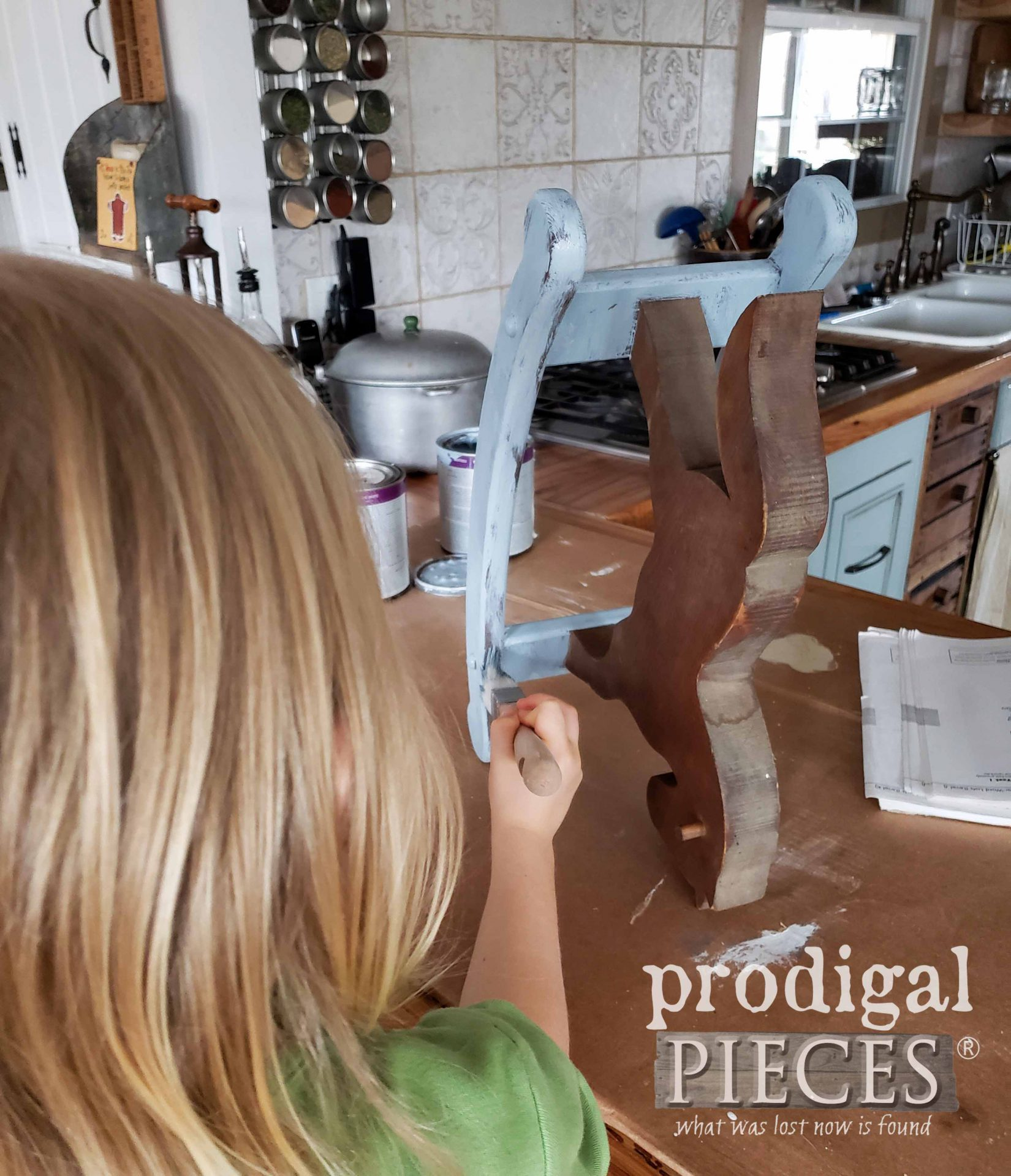 Toddler Helping Mama Paint Vintage Rocking Horse | prodigalpieces.com