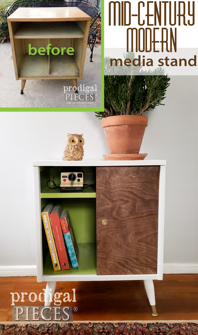 Saved from the trash, this Mid Century modern media stand received new life with paint and a DIY spirit. See the details by Larissa of Prodigal Pieces at prodigalpieces.com #prodigalpieces #furniture #midcentury #modern #boho #home #diy #homedecor