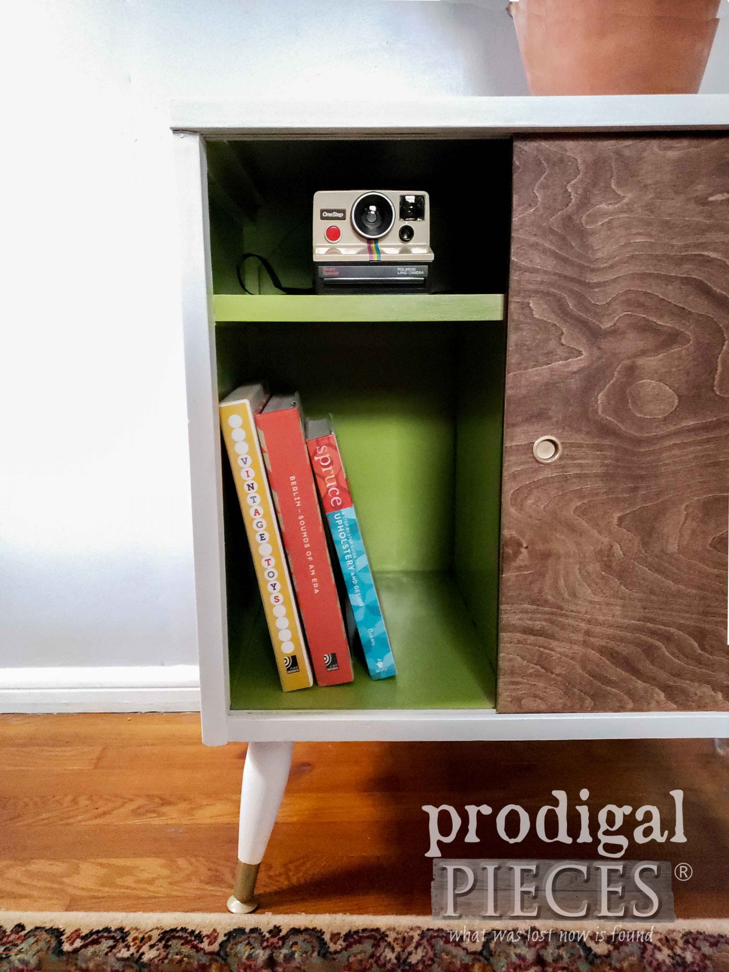 Open Mid Century Modern Media Cabinet Painted Green by Larissa of Prodigal Pieces | prodigalpieces.com #prodigalpieces #diy #home #furniture #homedecor #midcentury #modern