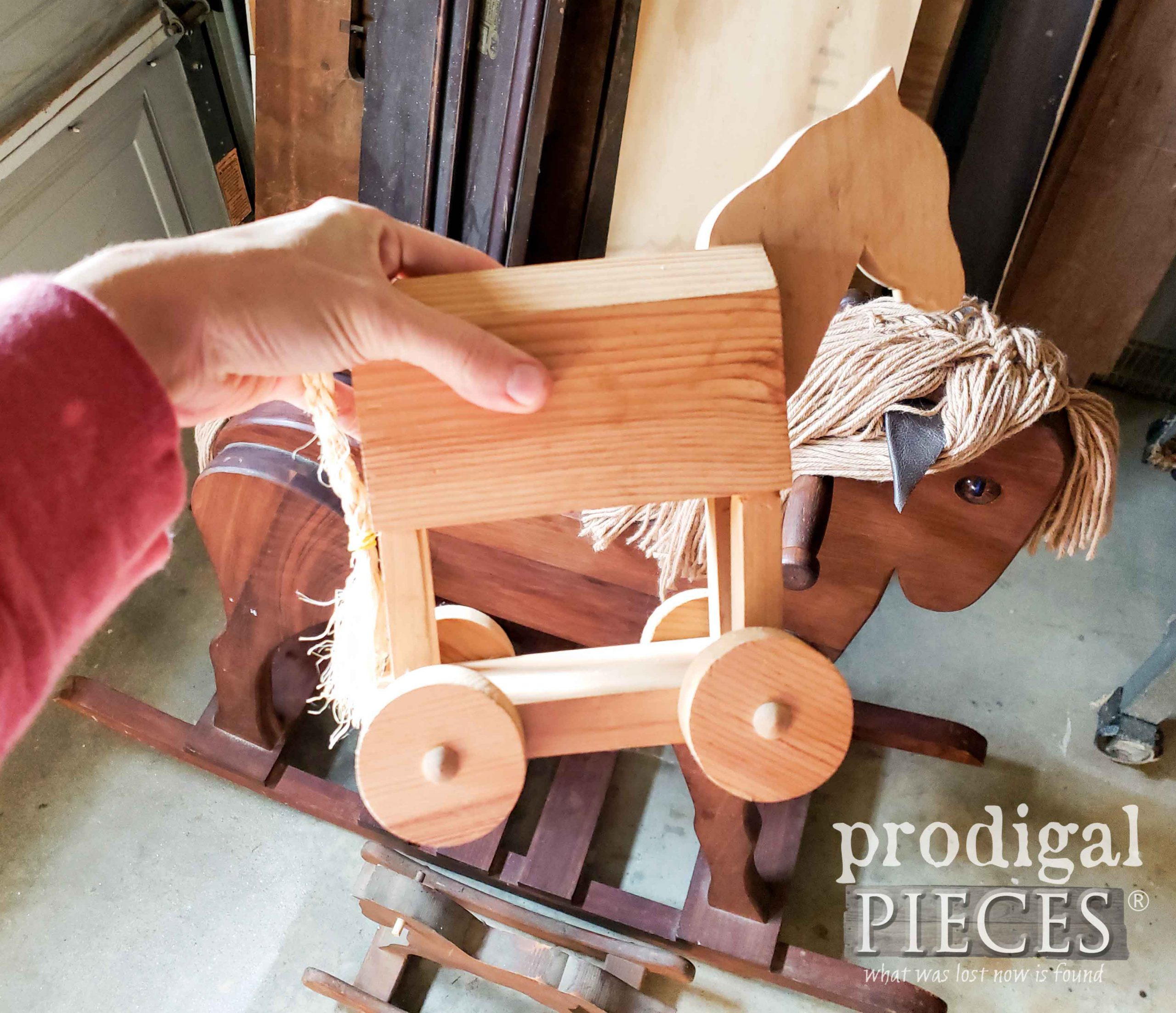 Pull-a-Long Wooden Horse Before | prodigalpieces.com