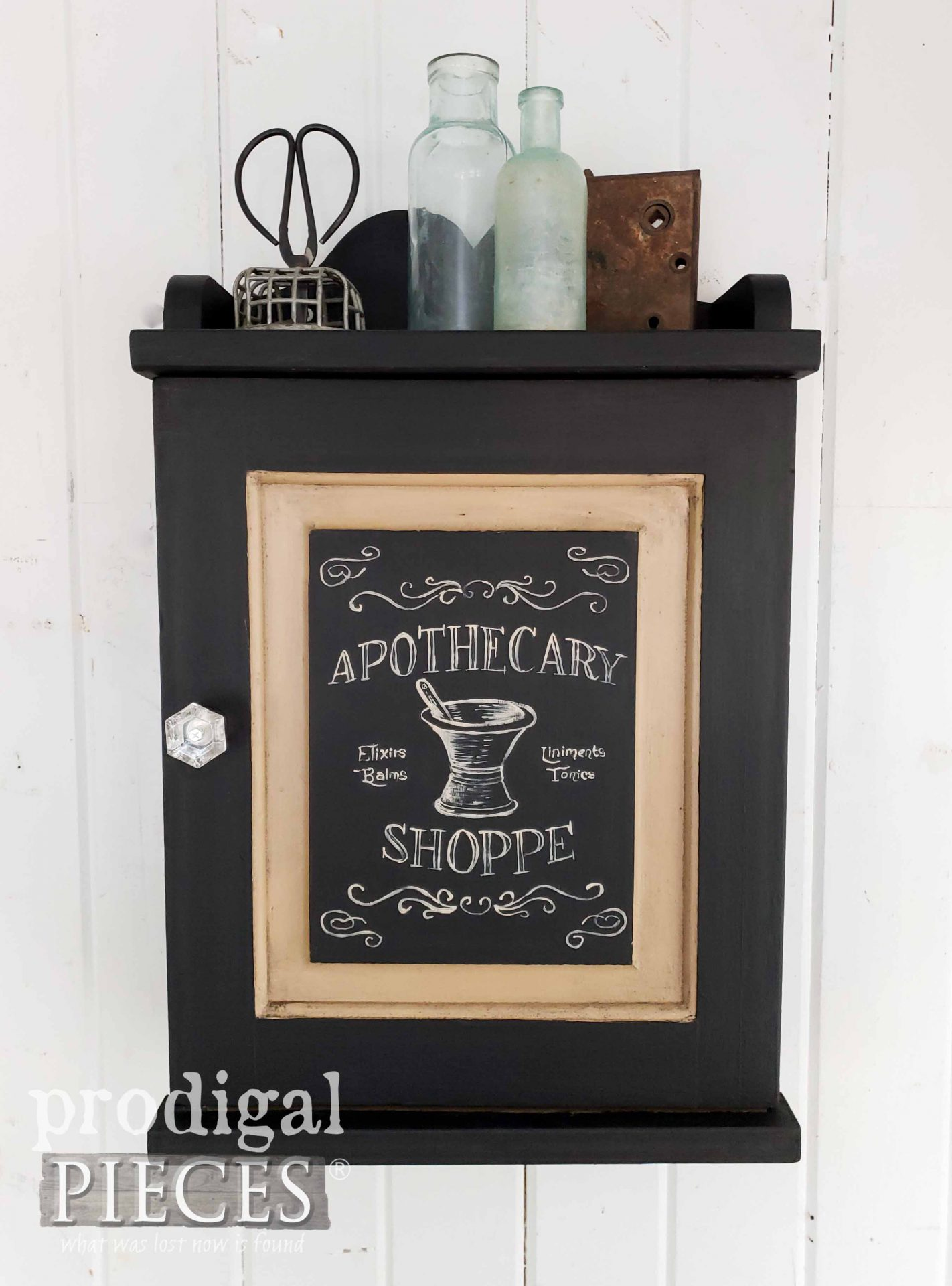 Industrial Farmhouse Vintage Apothecary Cabinet with Typography by Larissa of Prodigal Pieces | prodigalpieces.com #prodigalpieces #farmhouse #home #industrial #vintage #homedecor