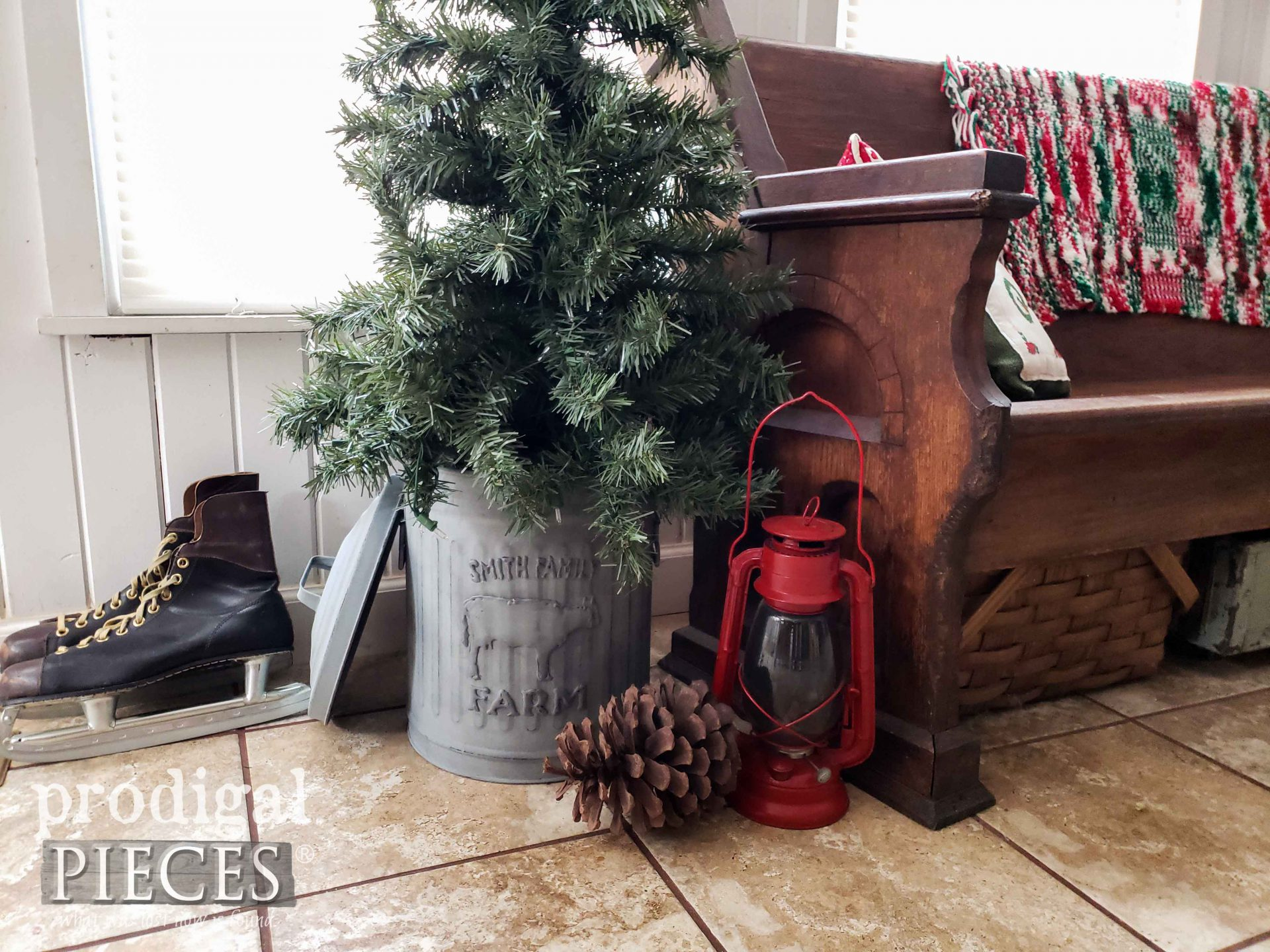 Rustic Farmhouse Christmas Tree in Embossed Trash Can by Larissa of Prodigal Pieces | prodigalpieces.com #prodigalpieces #home #diy #homedecor #farmhouse #christmas