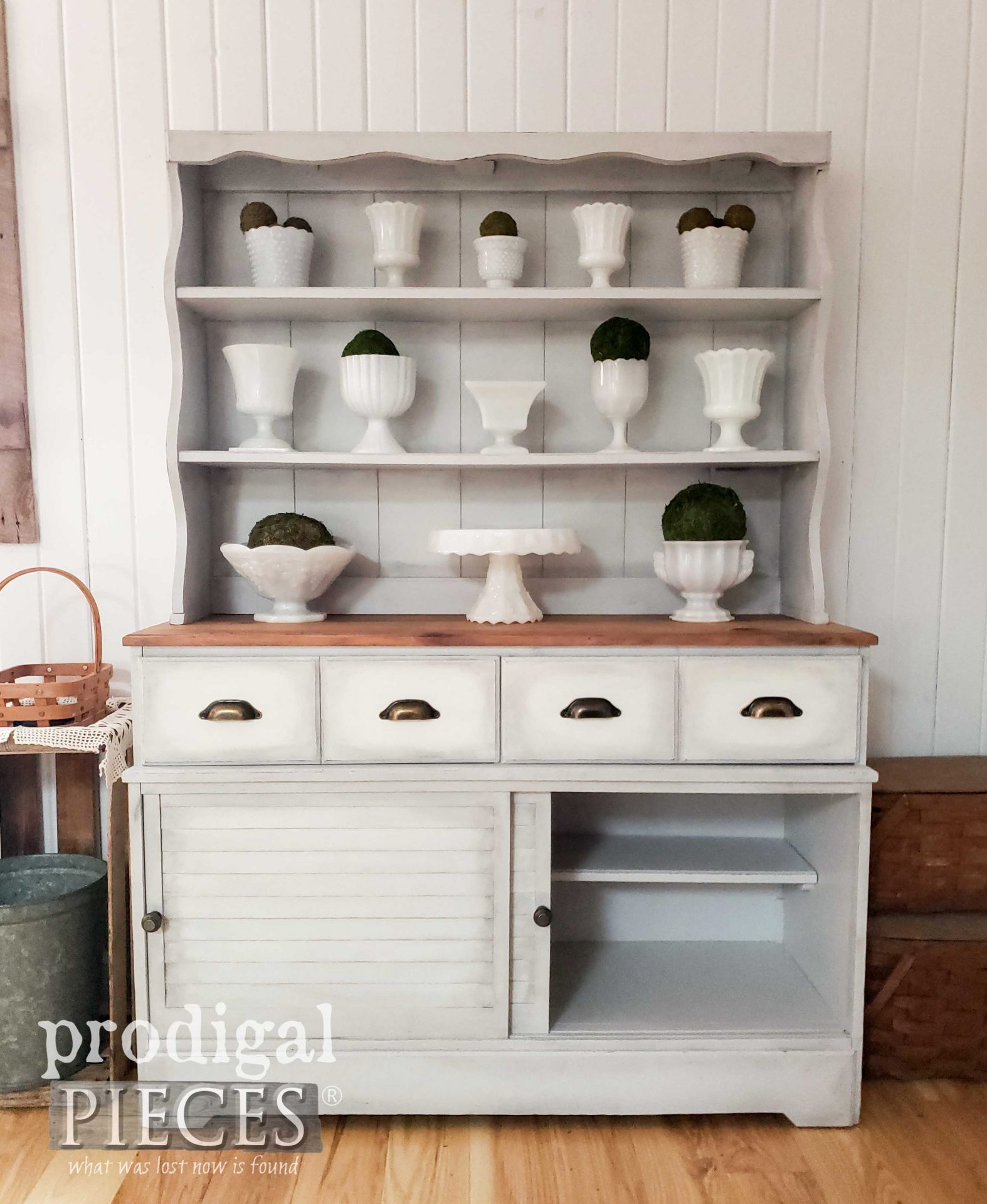 Rustic Farmhouse Pine Hutch with Louver Doors by Larissa of Prodigal Pieces | prodigalpieces.com #prodigalpieces #farmhouse #home #homedecor #furniture