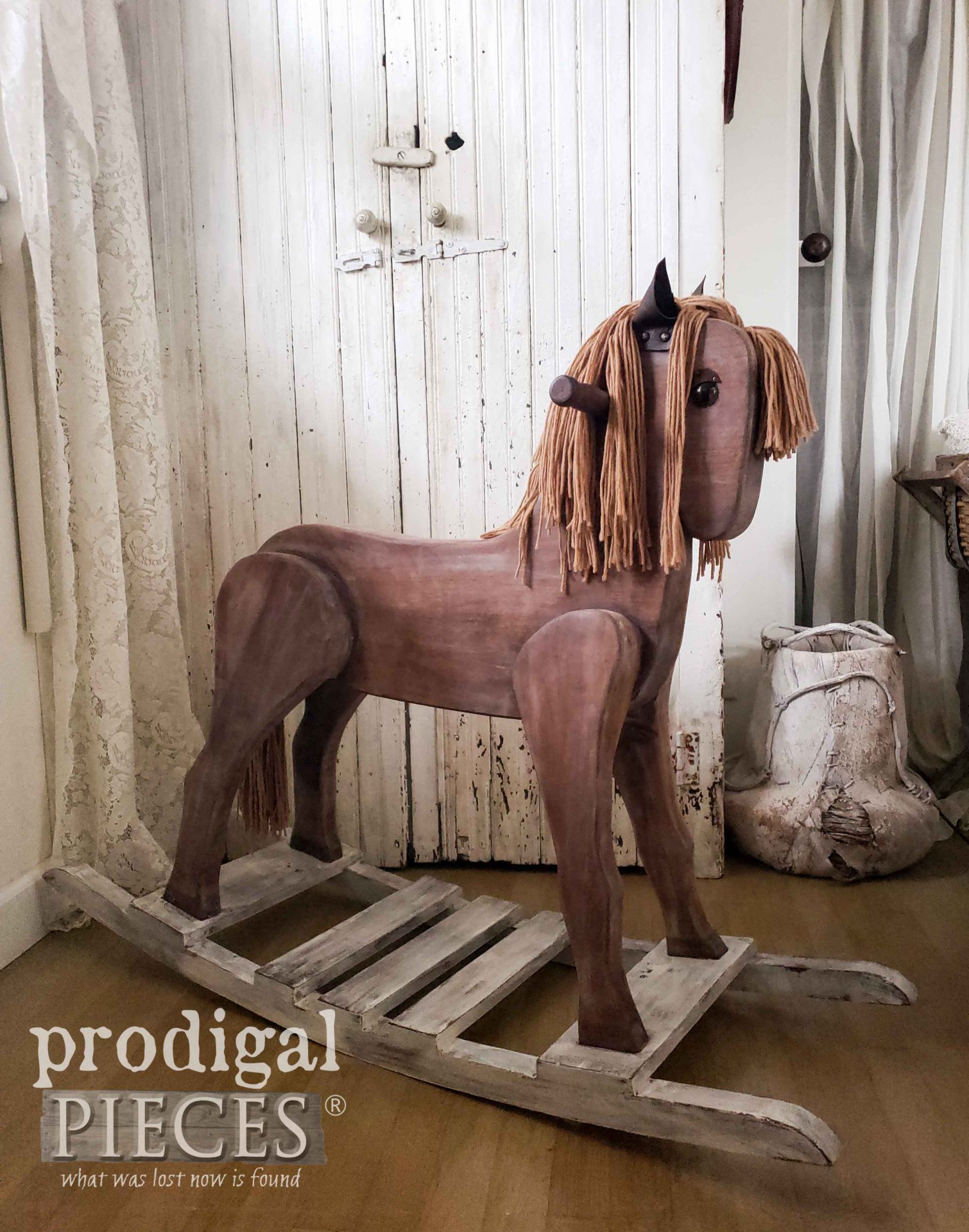 Rustic Farmhouse Rocking Horse Perfect for Kids of all Ages by Larissa of Prodigal Pieces | prodigalpieces.com #prodigalpieces #home #homedecor #farmhouse #toy #giftidea #horse