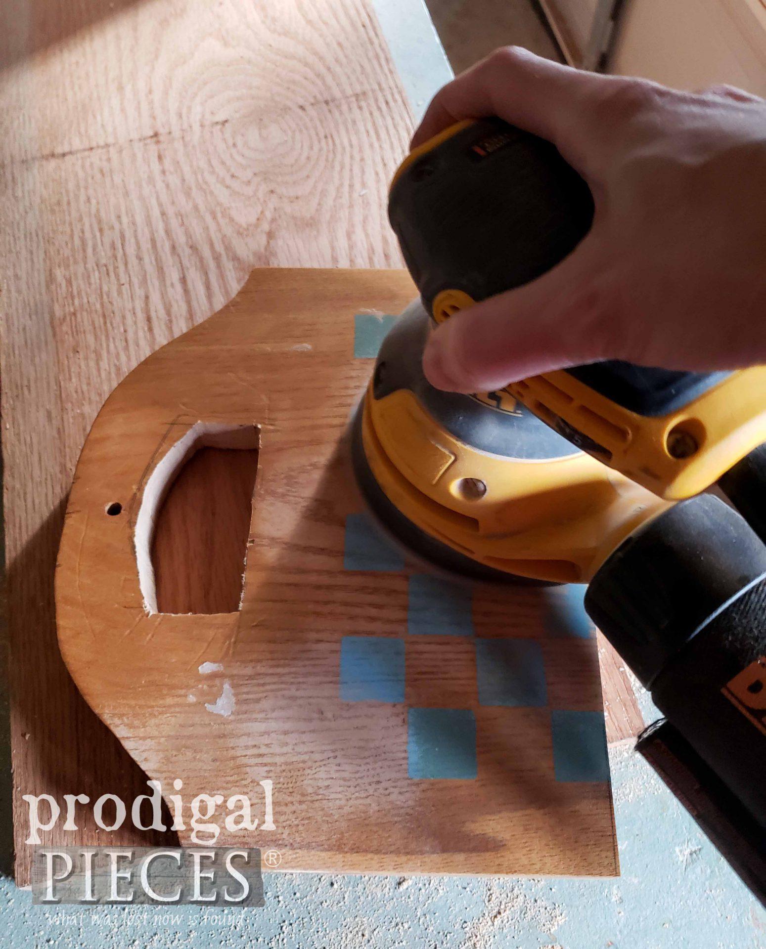 Sanding Cut Oak Pieces | prodigalpieces.com #prodigalpieces