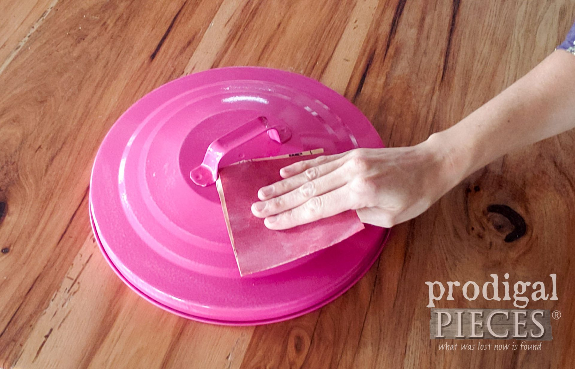Sanding Trash Can Lid ~ How to Emboss Anything | prodigalpieces.com