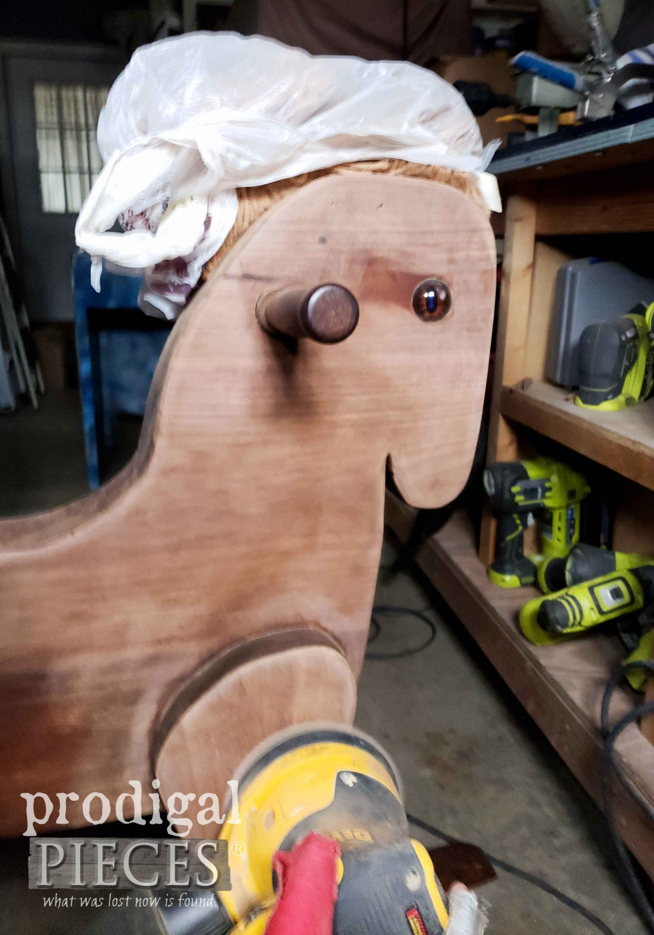 Sanding Vintage Rocking Horse to Removed Old Finish | prodigalpieces.com