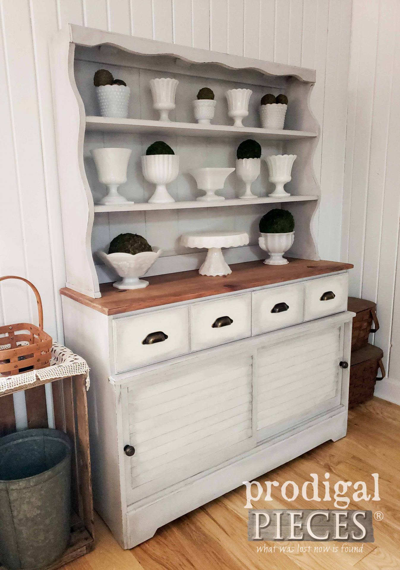 Side View of Vintage Farmhouse Hutch after Makeover by Larissa of Prodigal Pieces | prodigalpieces.com #prodigalpieces #farmhouse #kitchen #home #furniture #homedecor