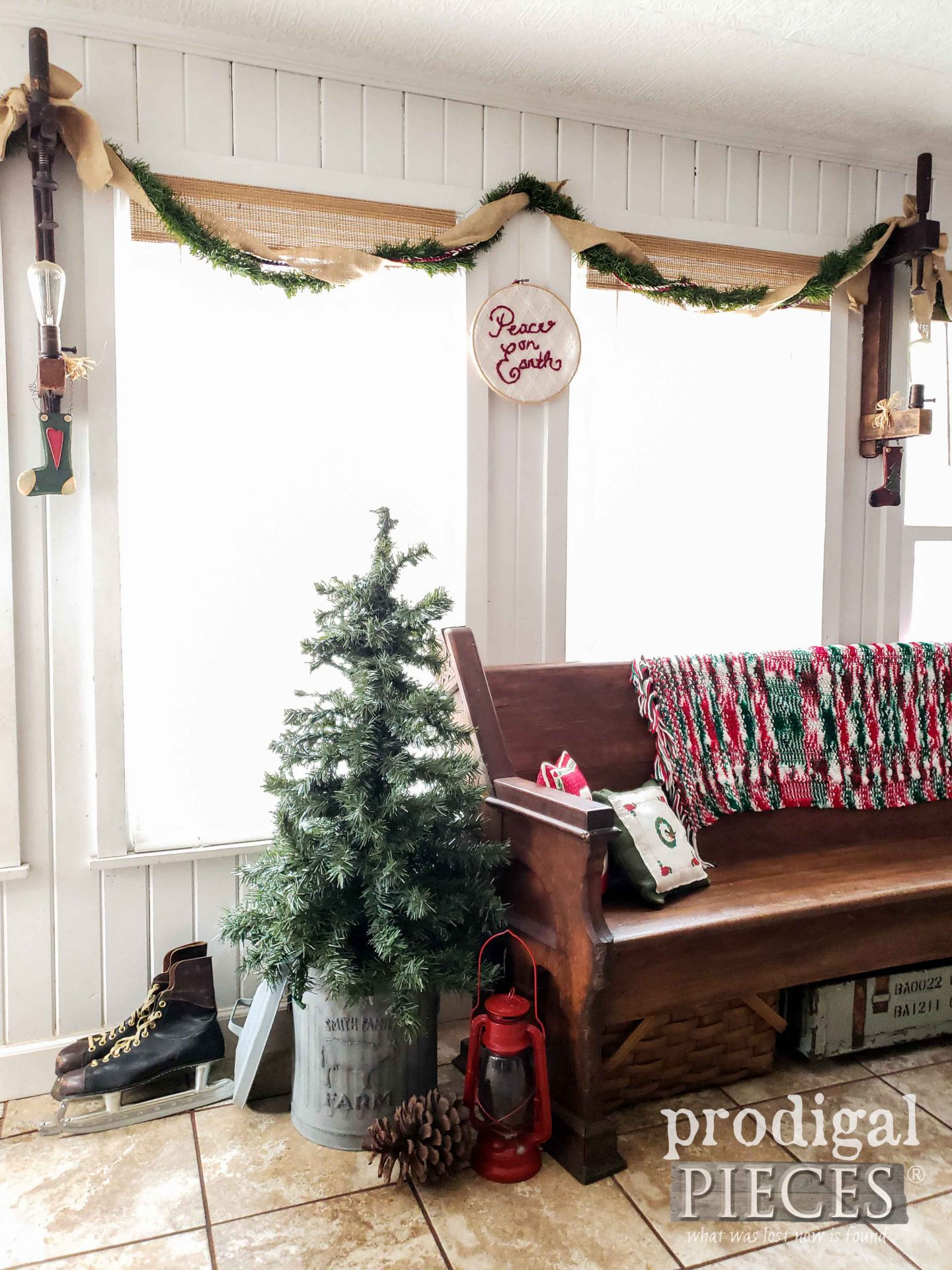 Simple Farmhouse Christmas with DIY Embossed Trash Can for Christmas Tree by Larissa of Prodigal Pieces | prodigalpieces.com #prodigalpieces #christmas #home #homedecor #farmhouse #diy
