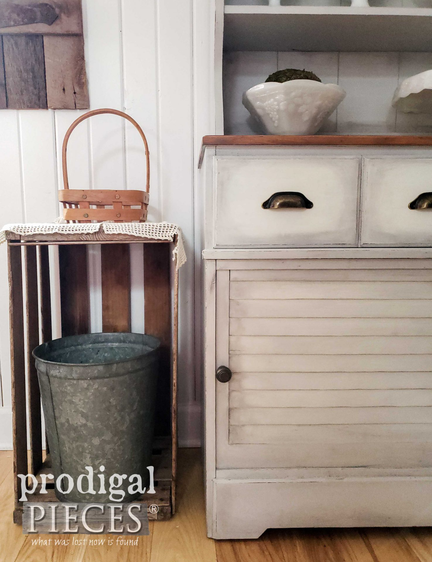 Simple Farmhouse Hutch with Louver Doors on Front and Bin Pulls on Drawers by Larissa of Prodigal Pieces | prodigalpieces.com #prodigalpieces #diy #furniture #home #farmhouse #homedecor