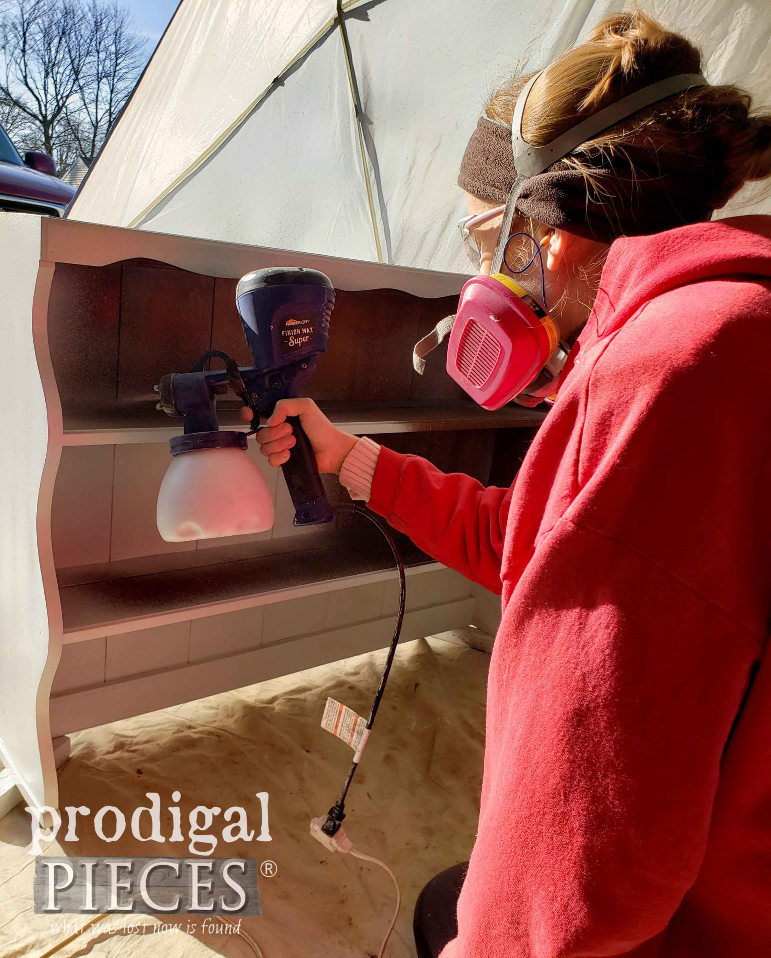 Larissa of Prodigal Pieces Spray Painting a Vintage Farmhouse Hutch with the HomeRight Super Finish Max Extra | prodigalpieces.com #prodigalpieces
