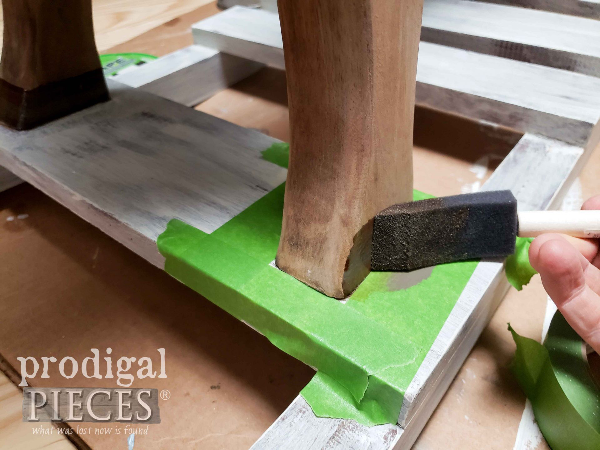 Staining Wooden Rocking Horse Feet | prodigalpieces.com