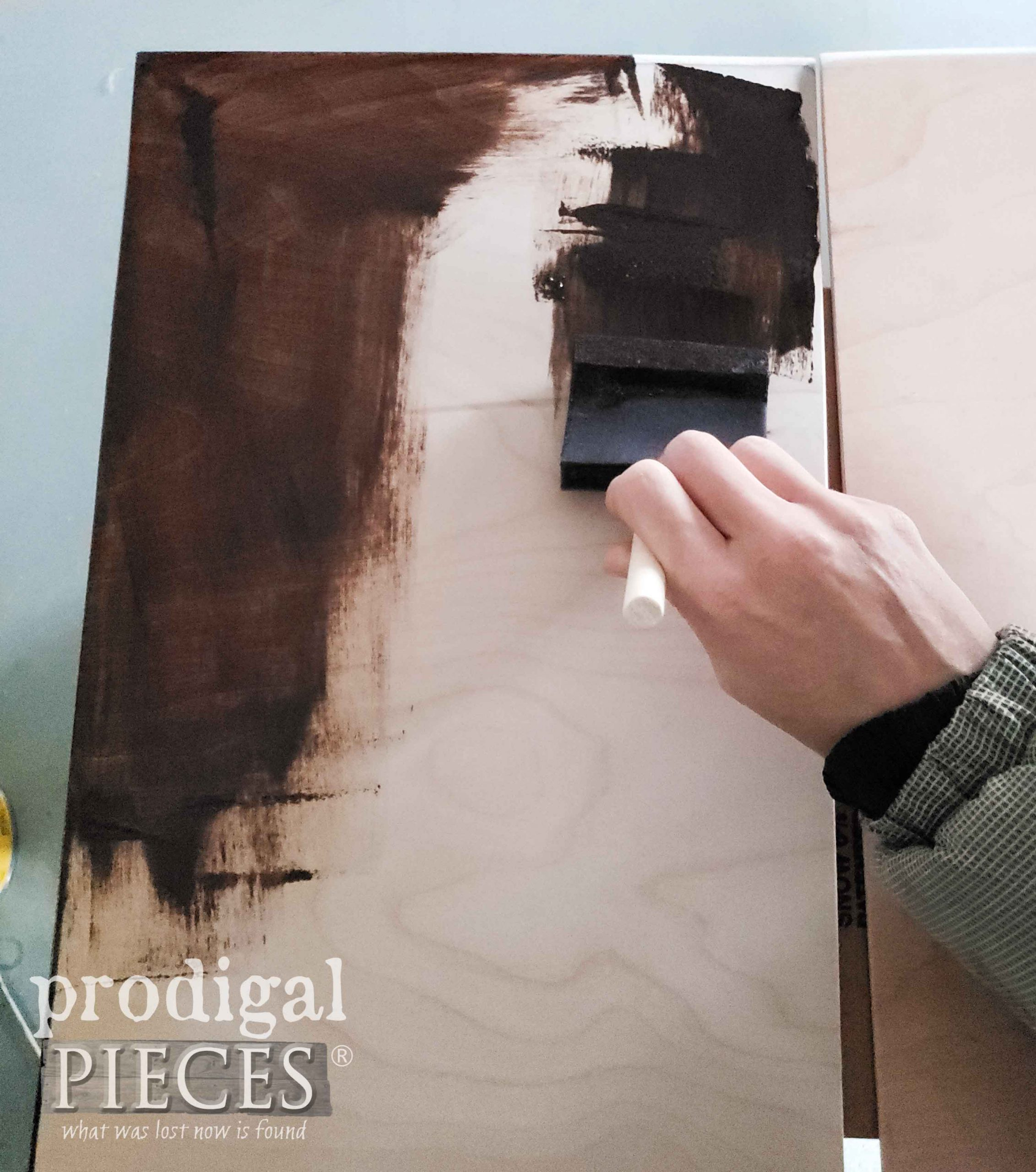 Staining Media Stand Doors with Hickory Gel Stain | prodigalpieces.com