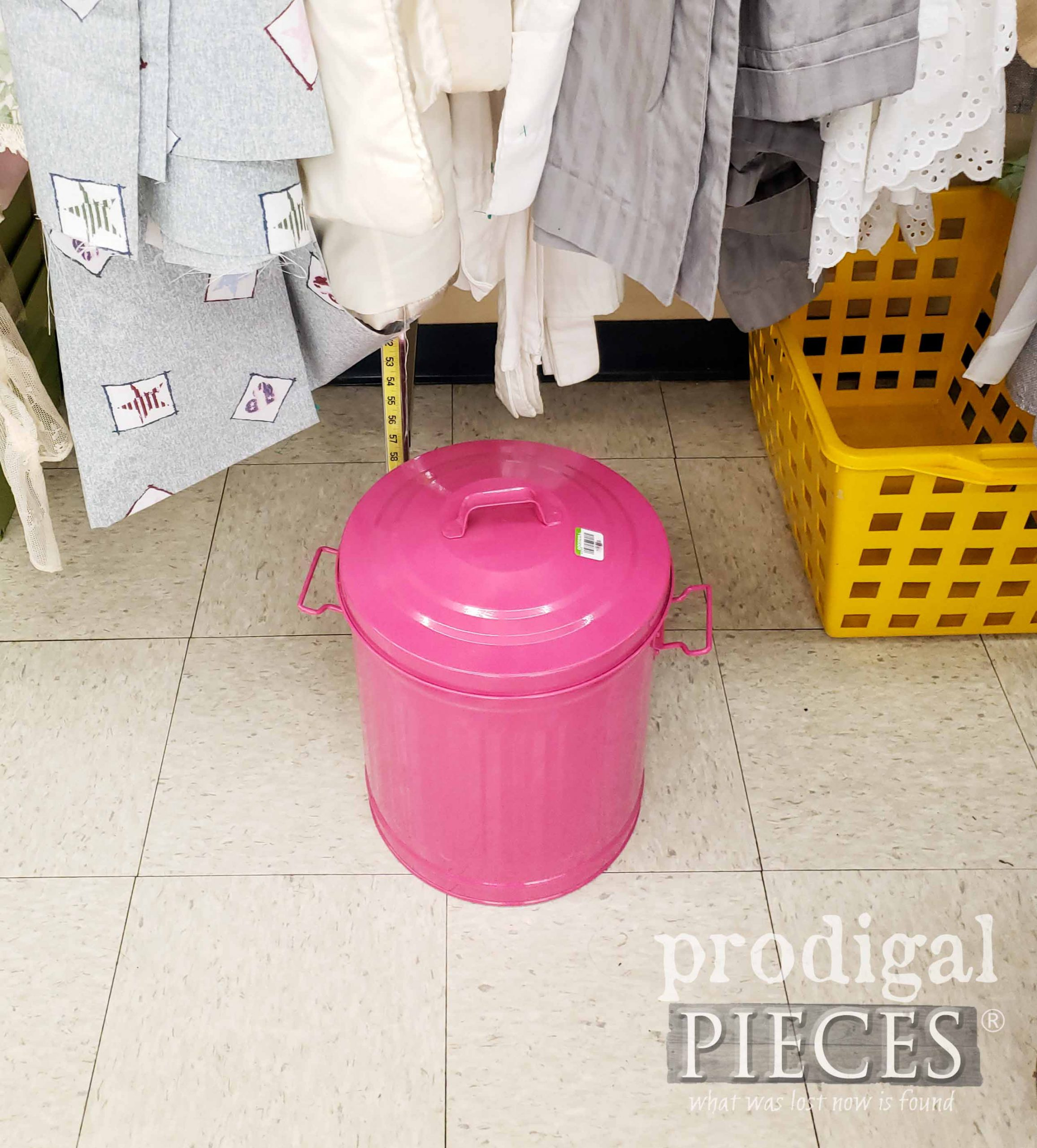 Thrifted Pink Trash Can Before Farmhouse Makeover by Larissa of Prodigal Pieces | prodigalpieces.com #prodigalpieces